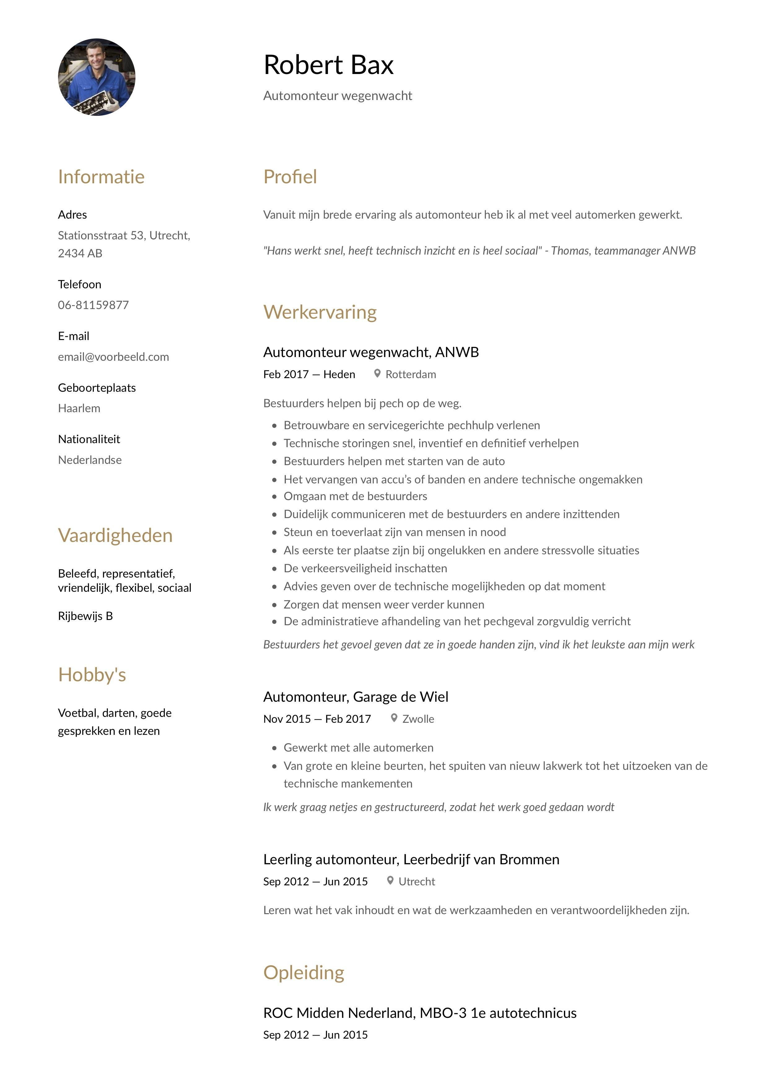 CV Voorbeeld Automonteur wegenwacht