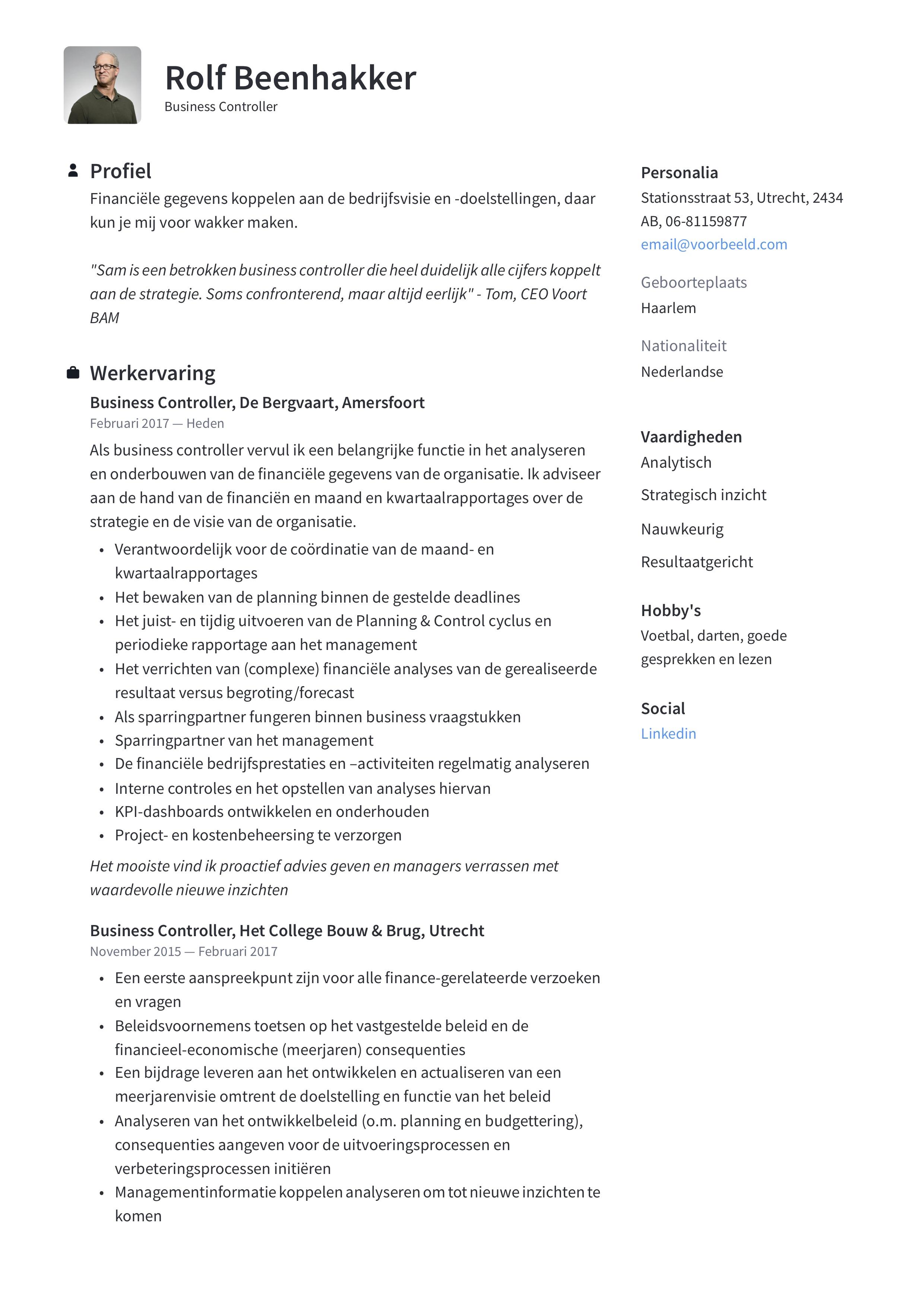 Business controller CV Voorbeeld