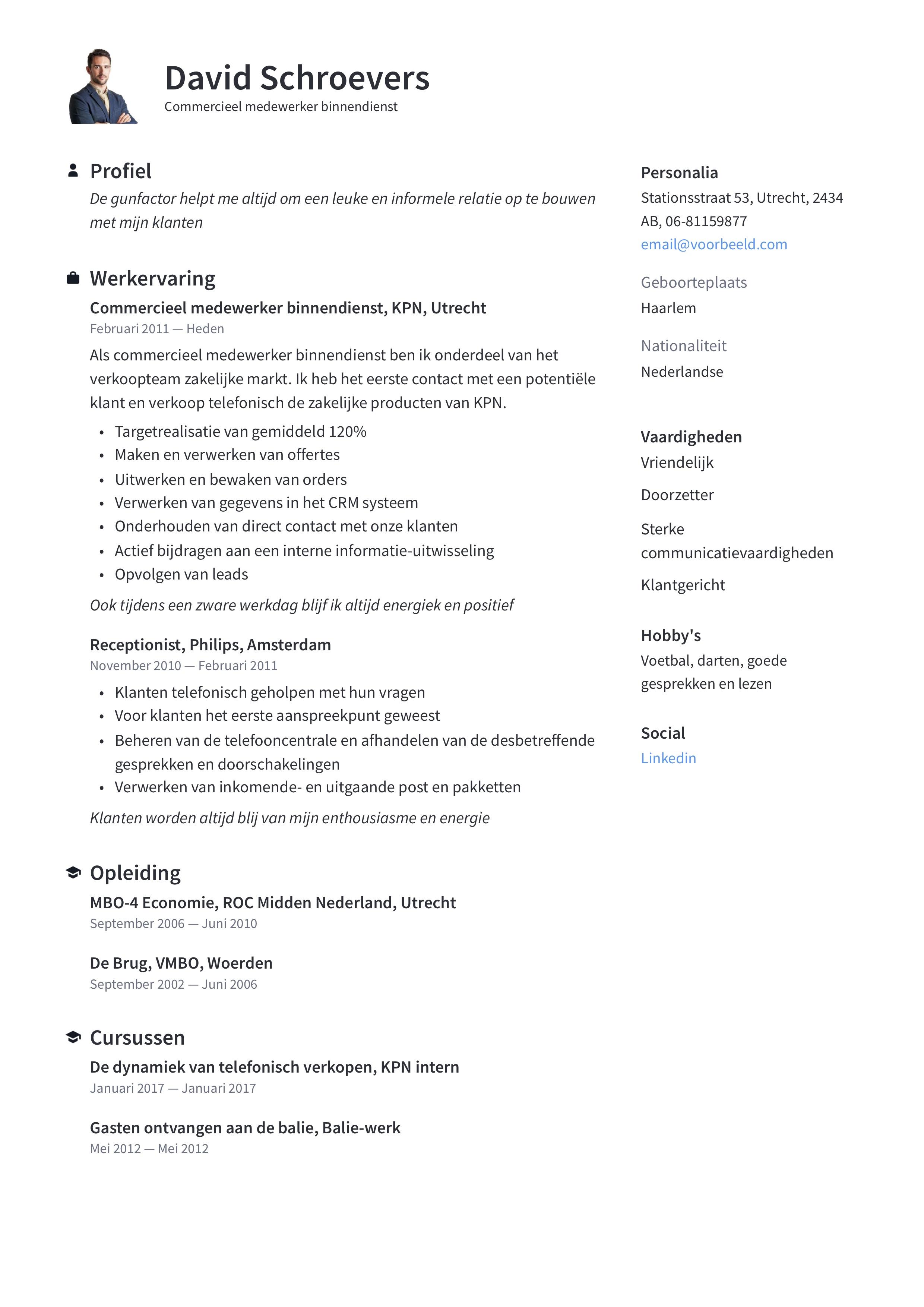Commercieel medewerker binnendienst CV Voorbeeld