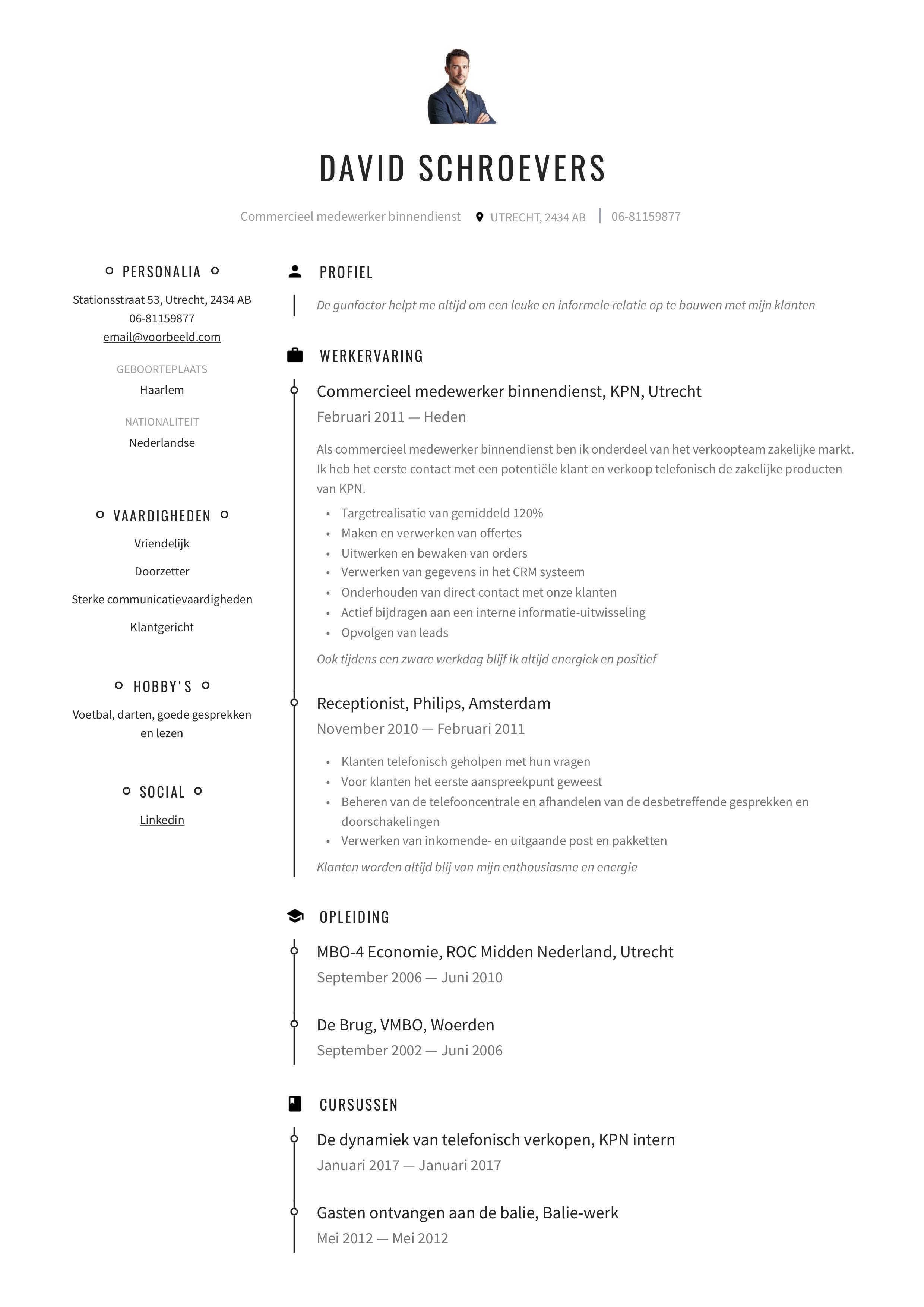 CV Commercieel medewerker binnendienst