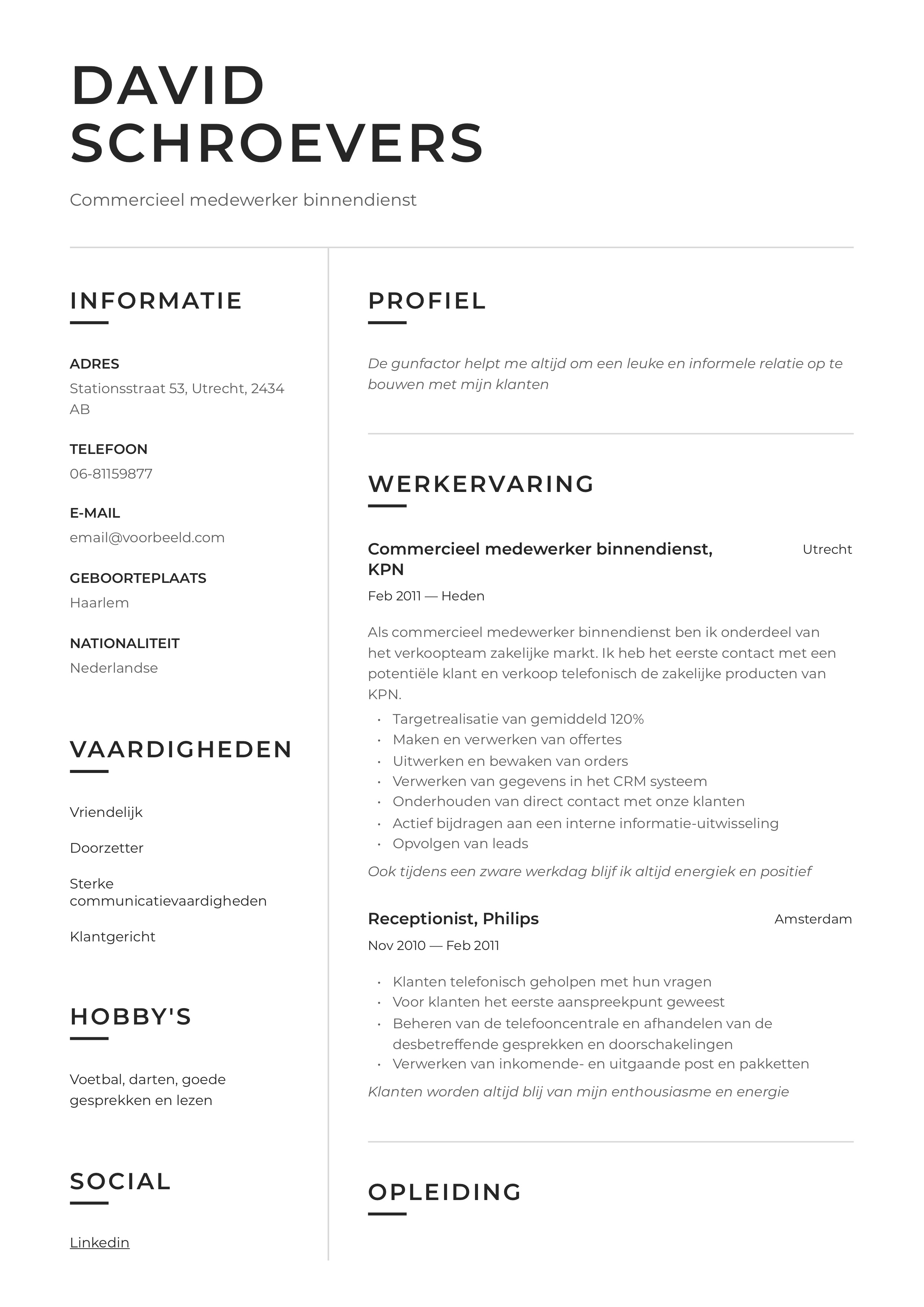 CV Voorbeeld Commercieel medewerker binnendienst