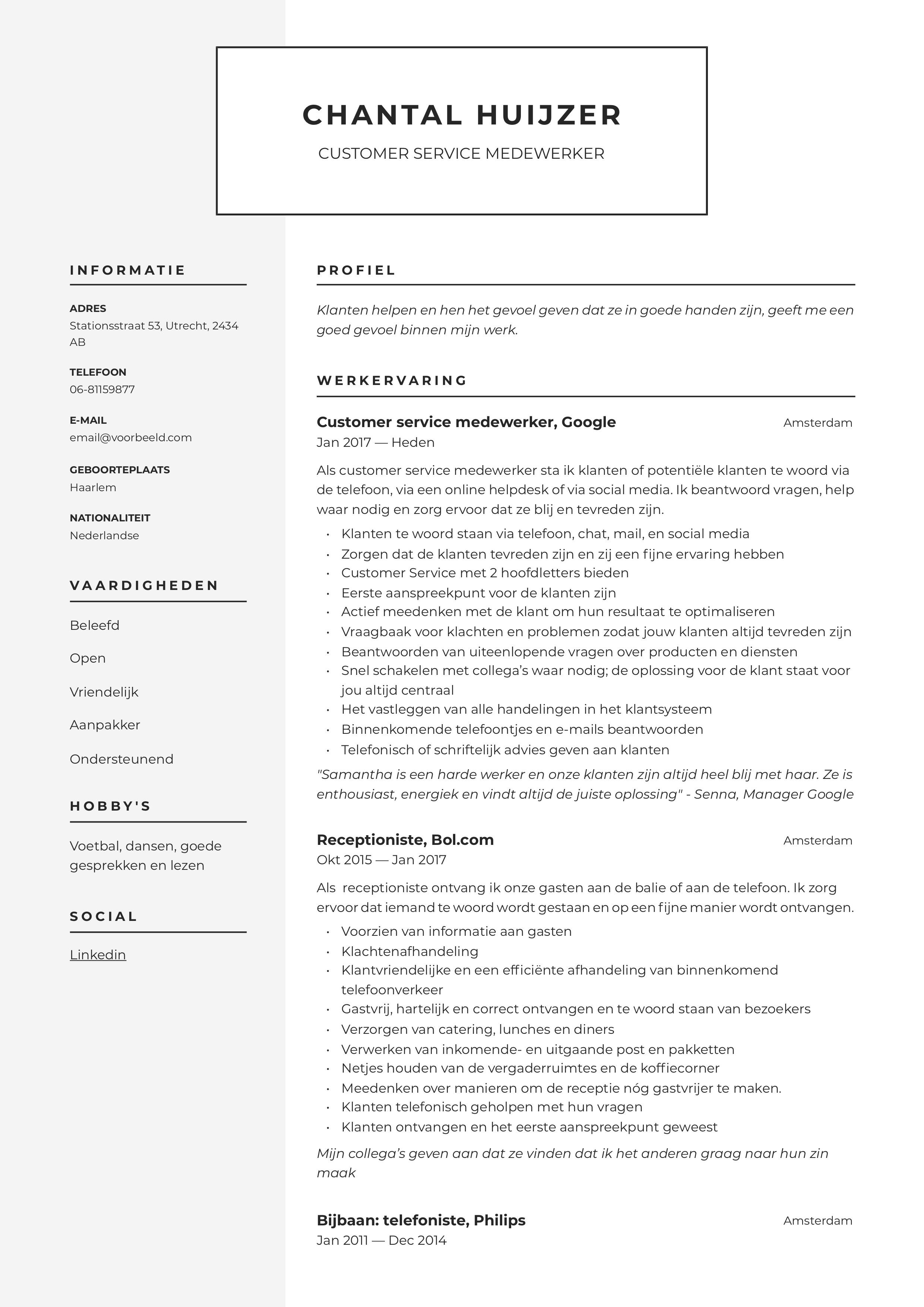 CV Customer service medewerker
