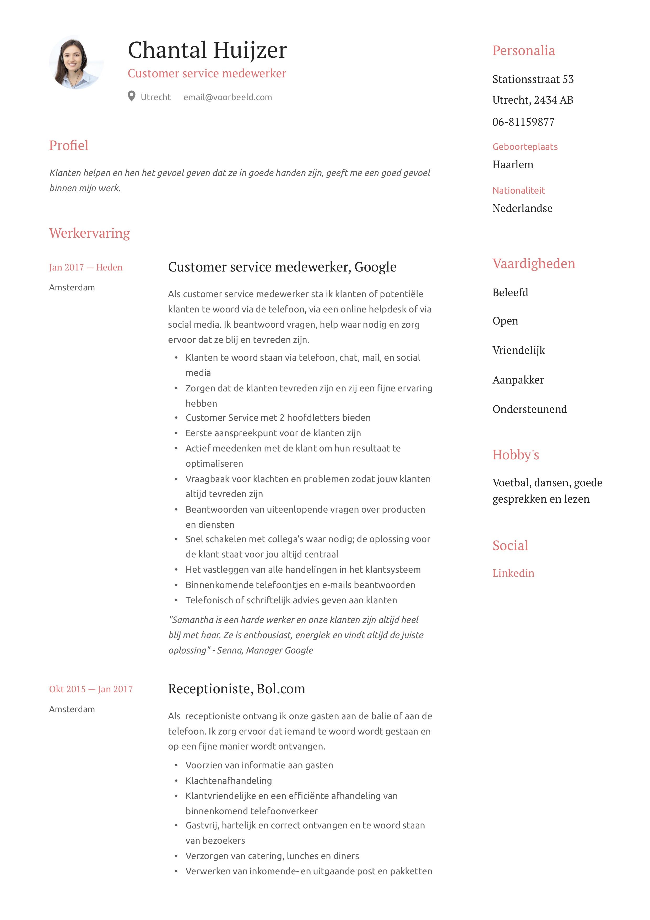 Customer service medewerker CV Voorbeeld