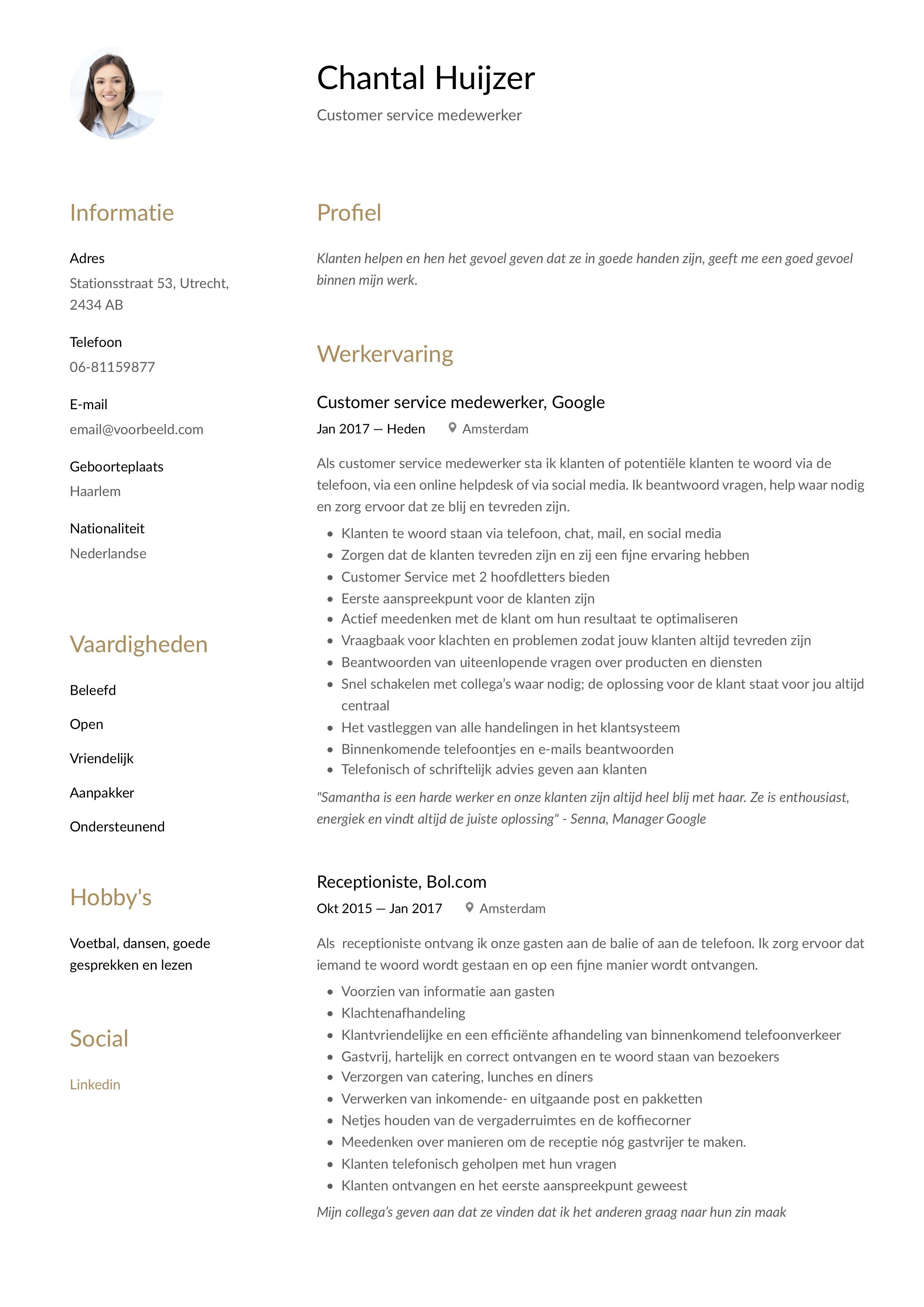 CV Voorbeeld Customer service medewerker