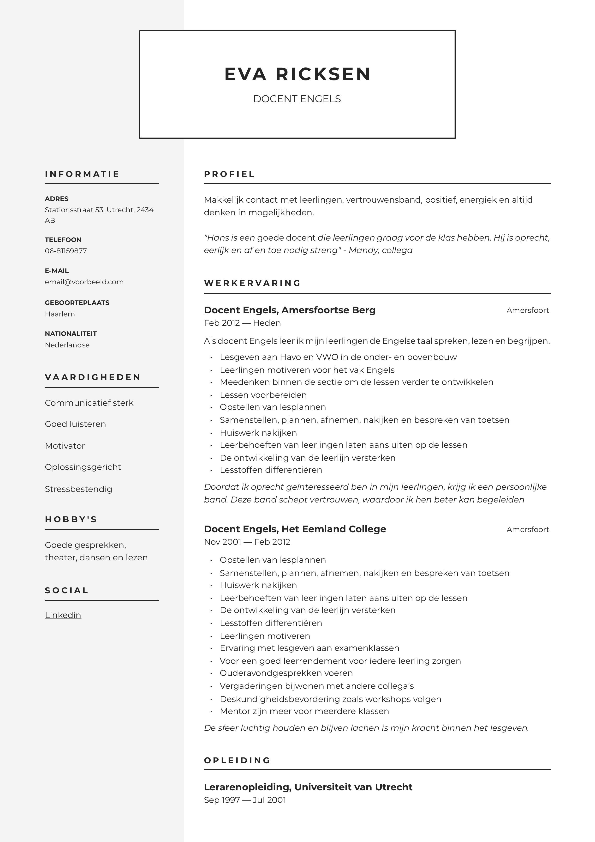 CV Docent Engels