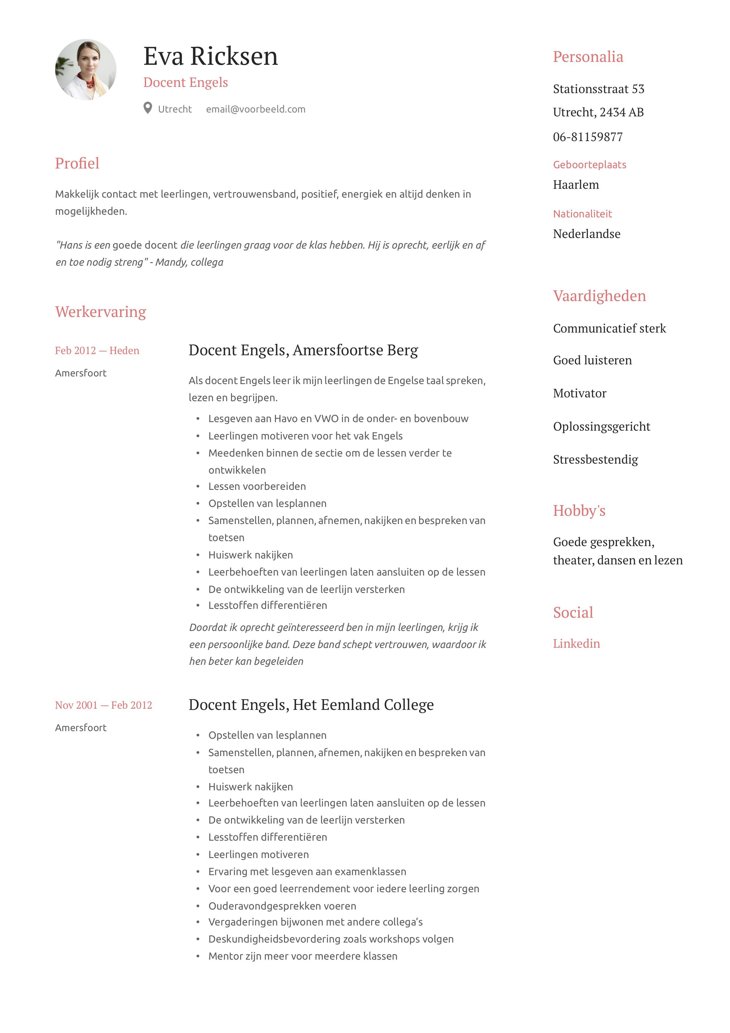Docent Engels CV Voorbeeld