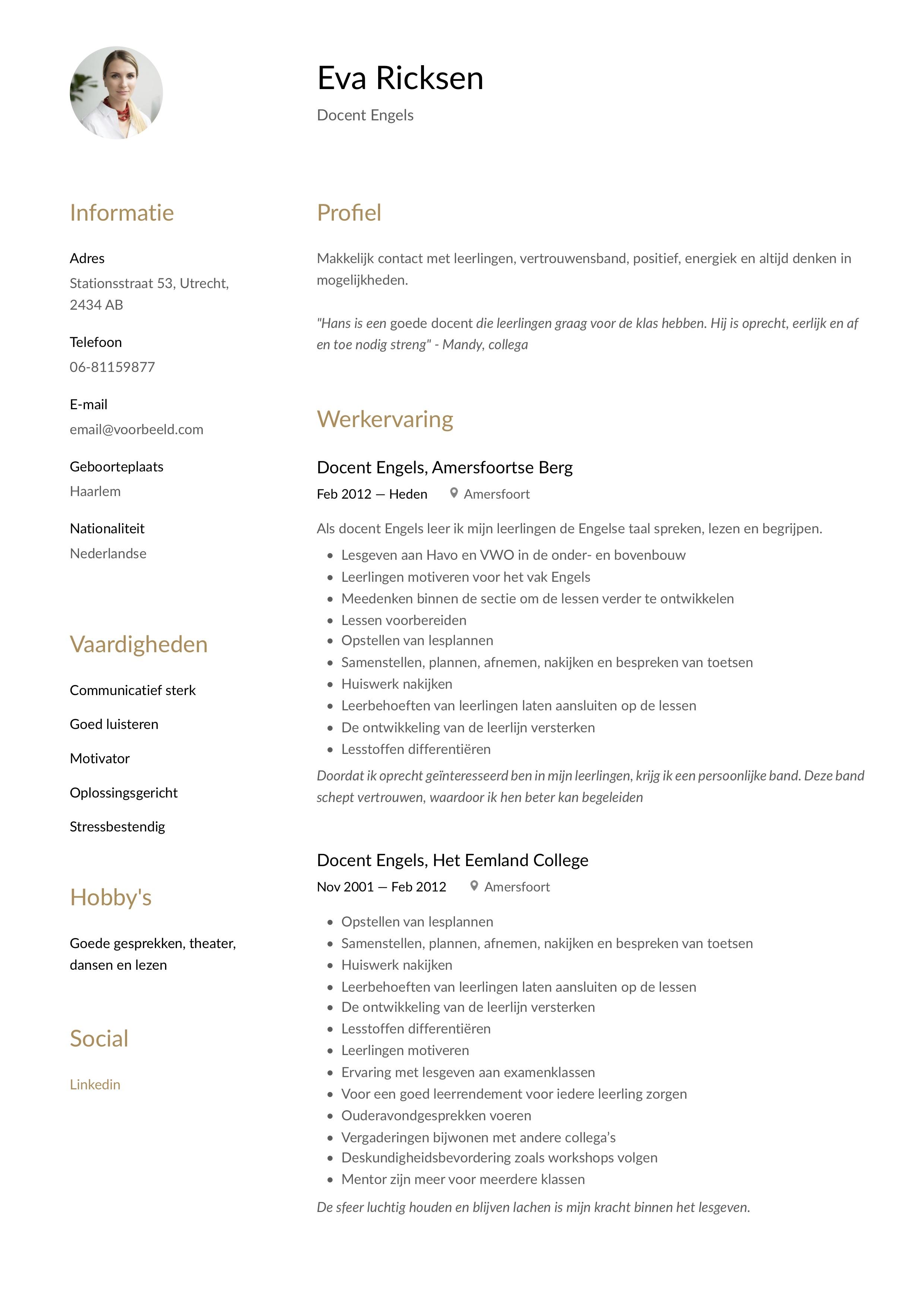 CV Voorbeeld Docent Engels