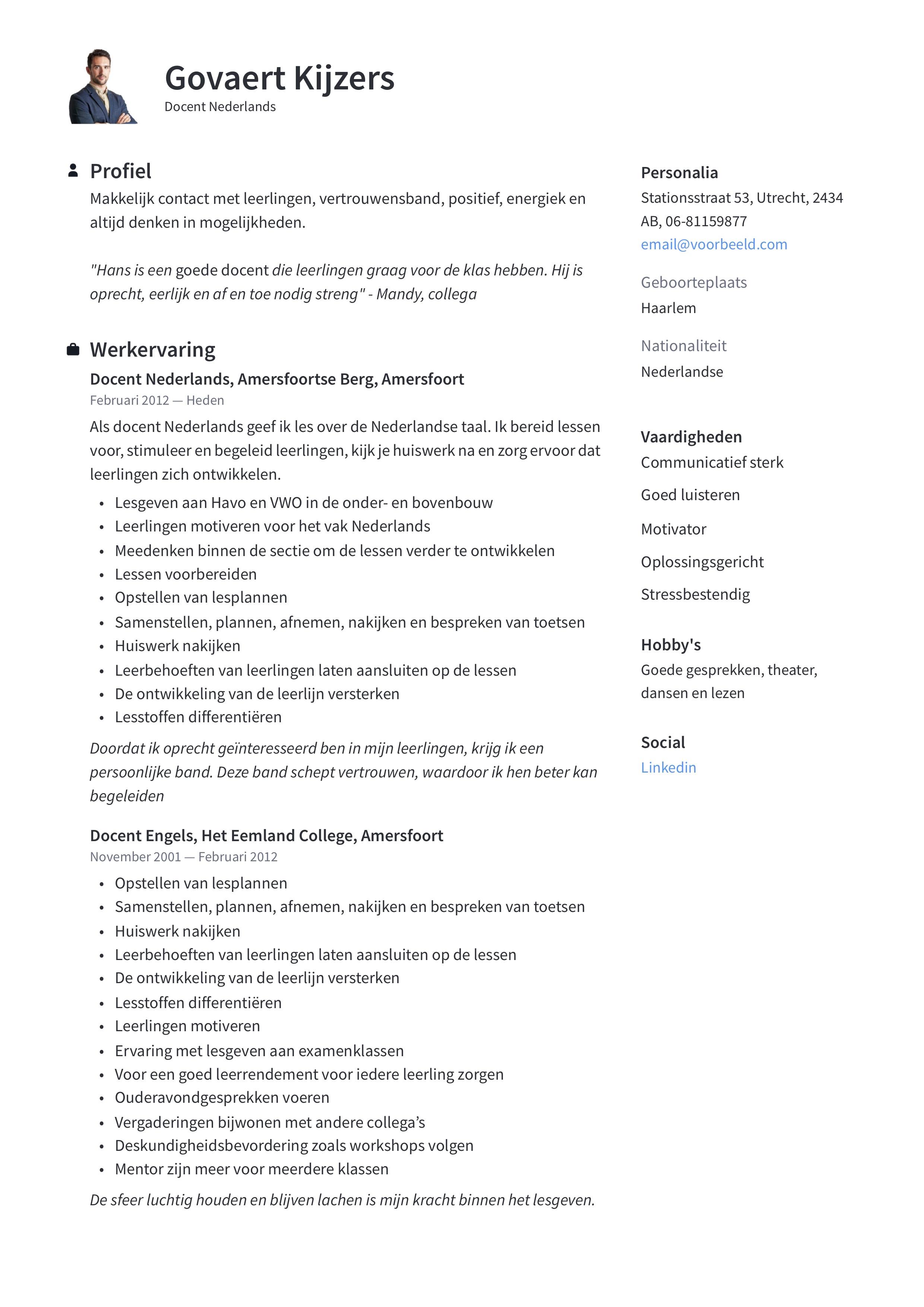 Docent Nederlands CV Voorbeeld