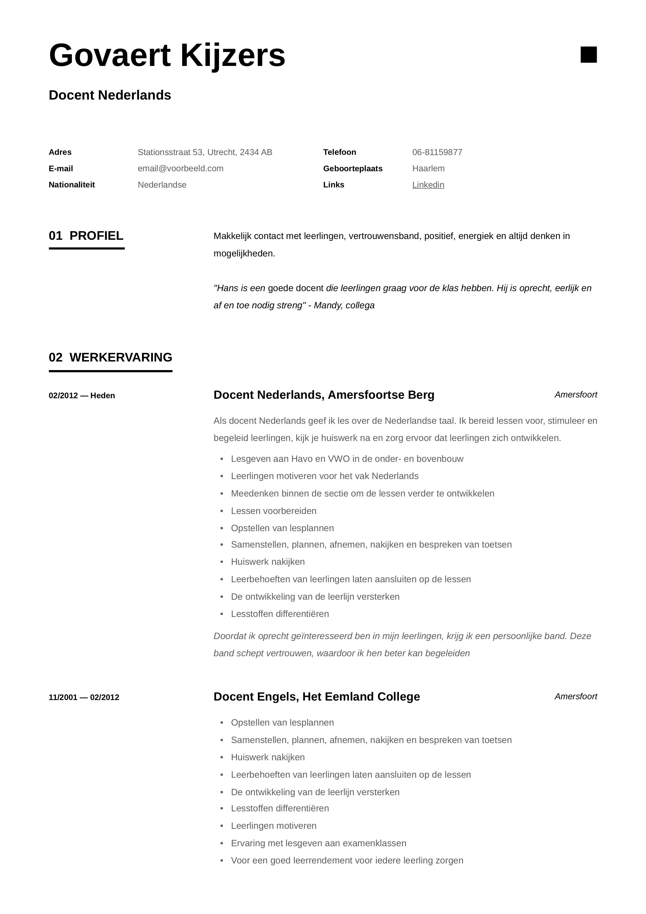 CV Docent Nederlands