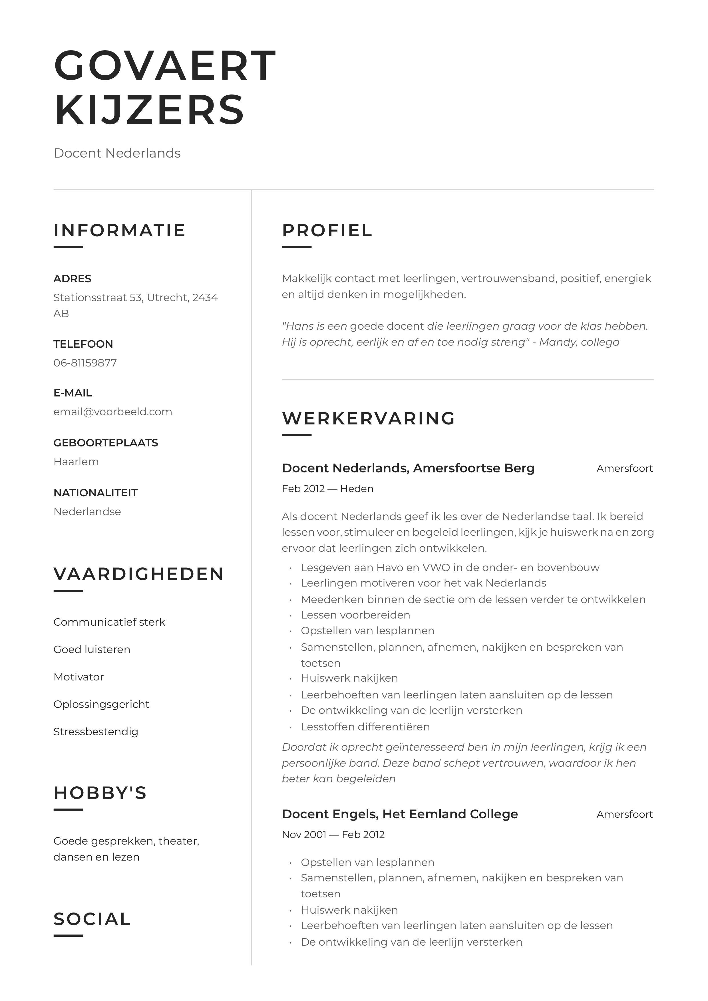 CV Voorbeeld Docent Nederlands