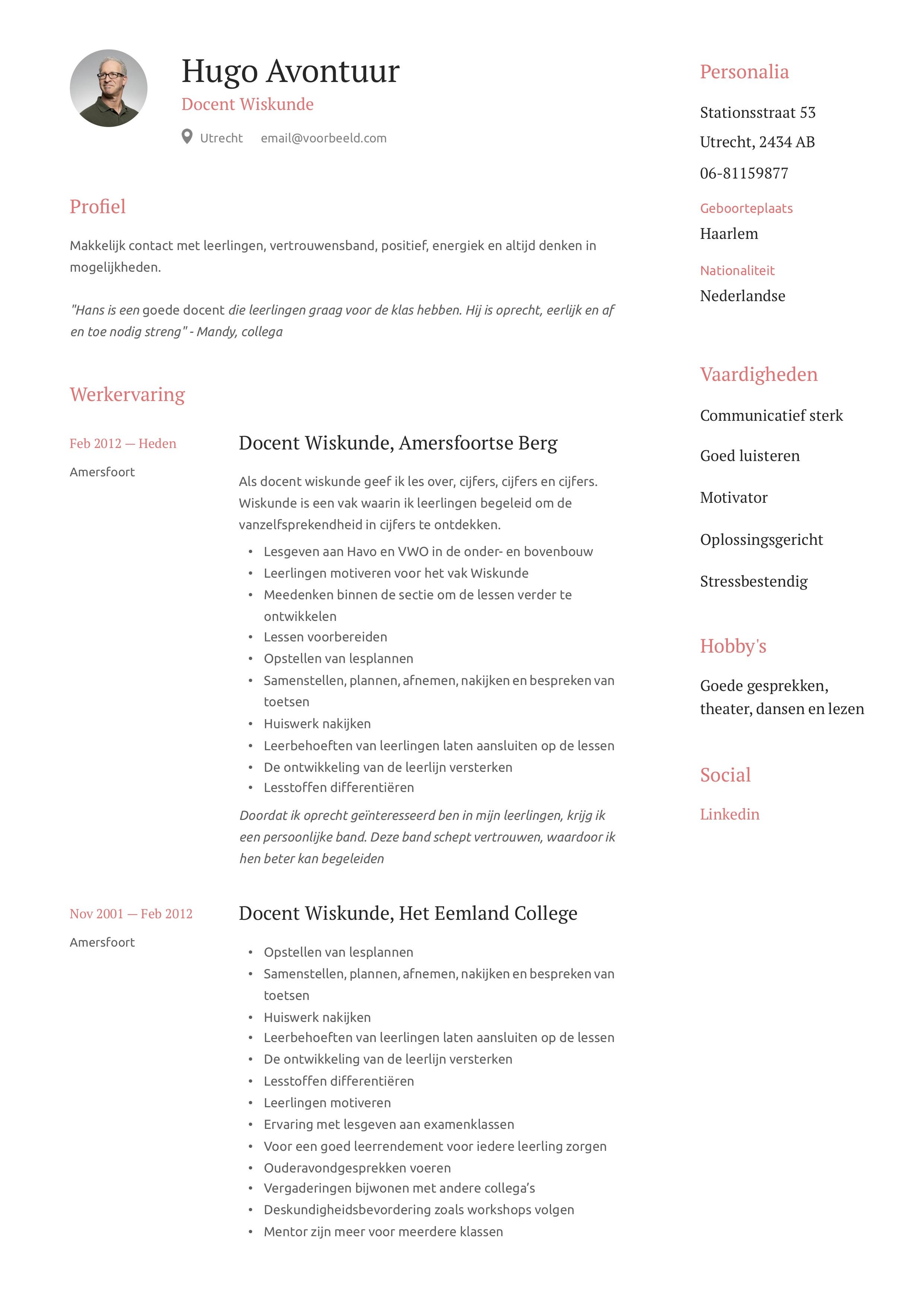 Docent Wiskunde CV Voorbeeld