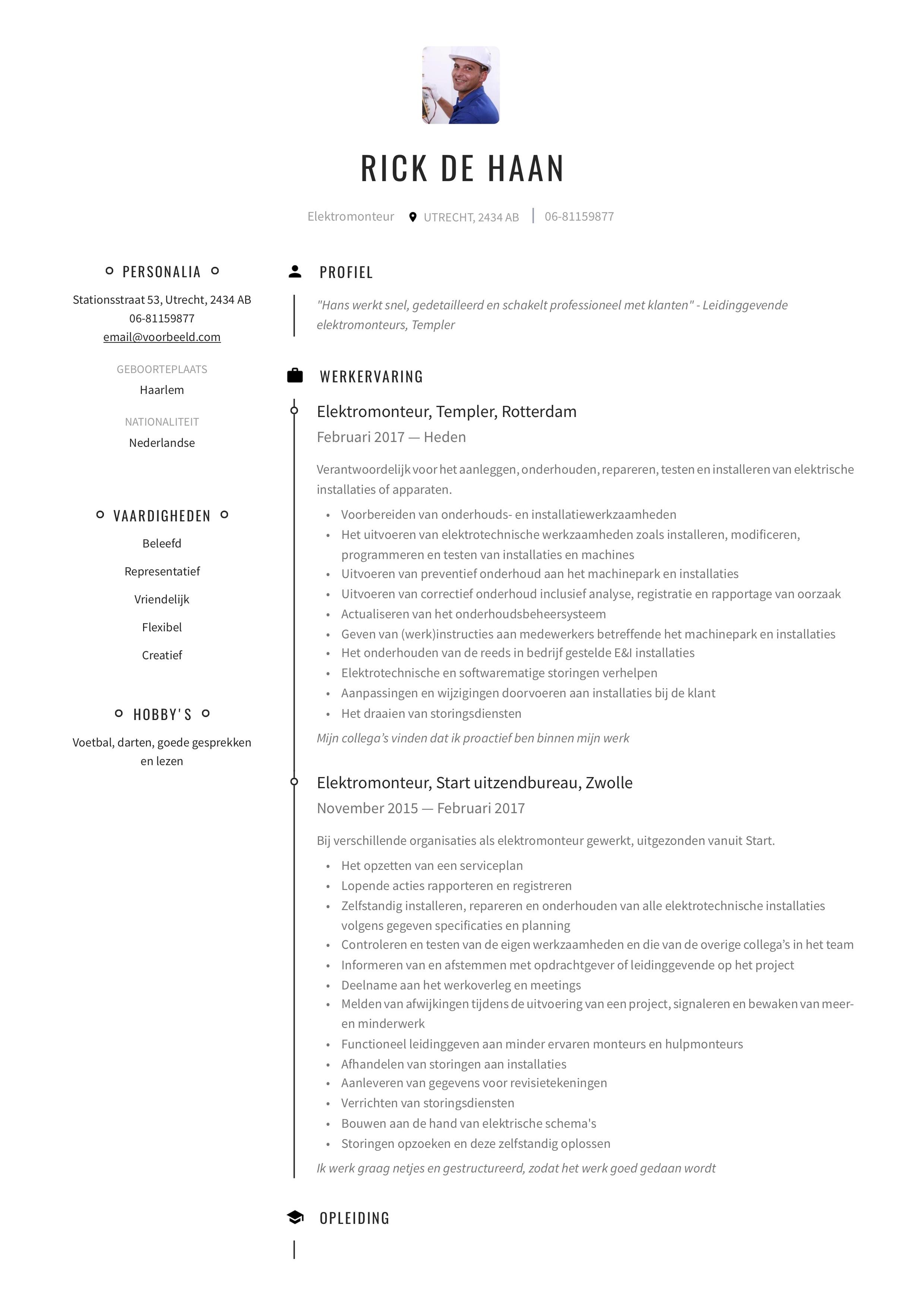 CV Elektromonteur