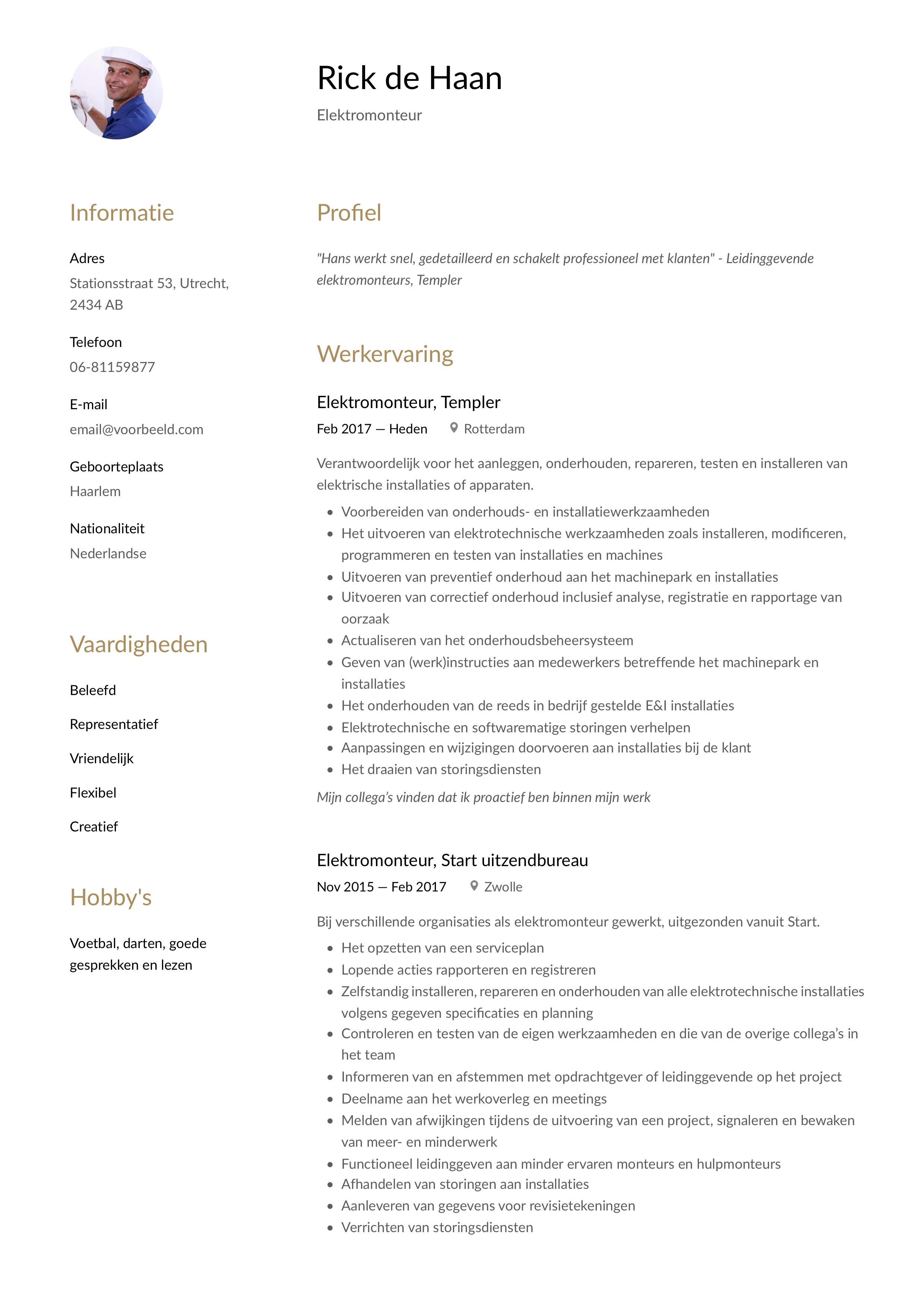 CV Voorbeeld Elektromonteur