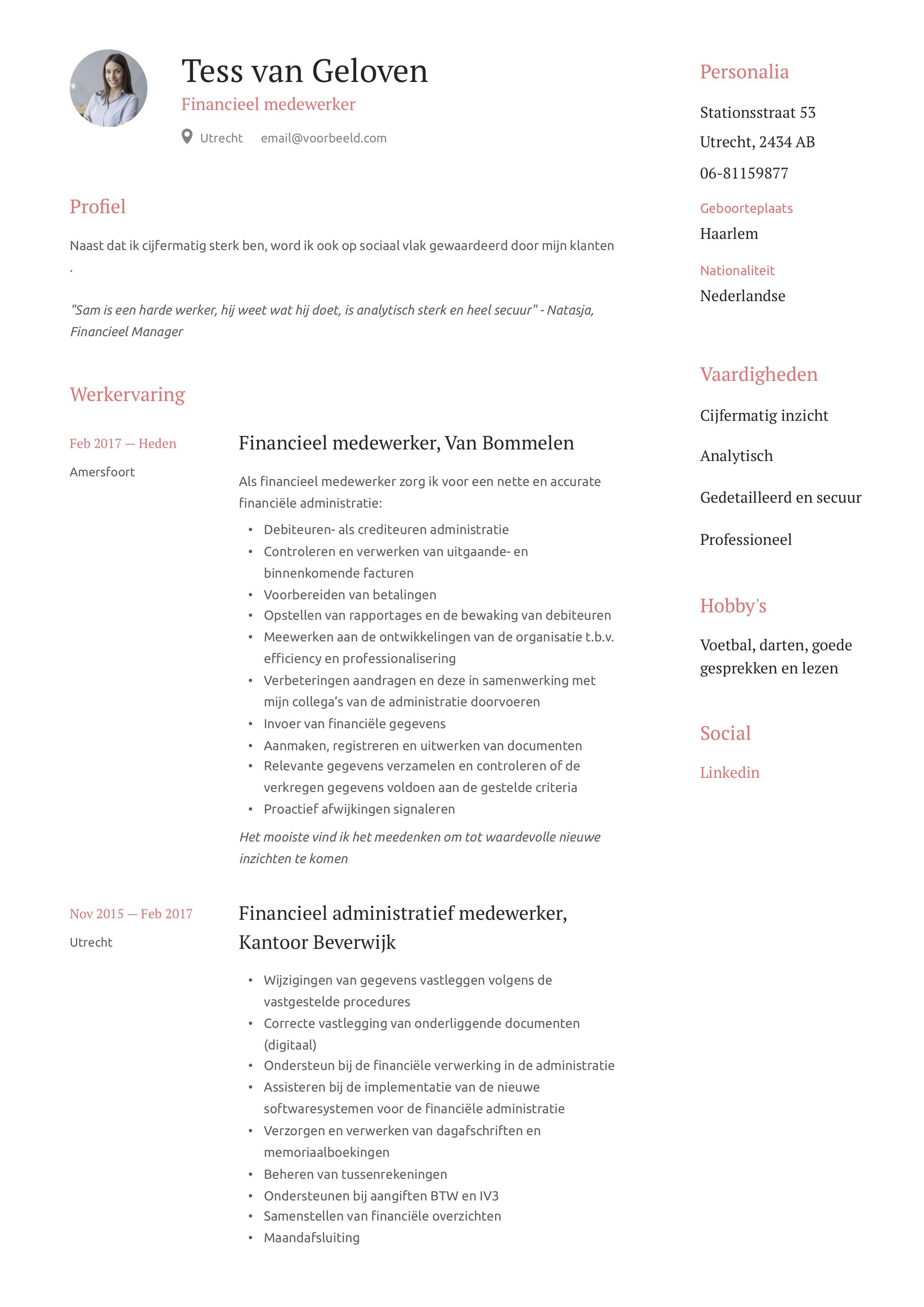 Financieel medewerker CV Voorbeeld