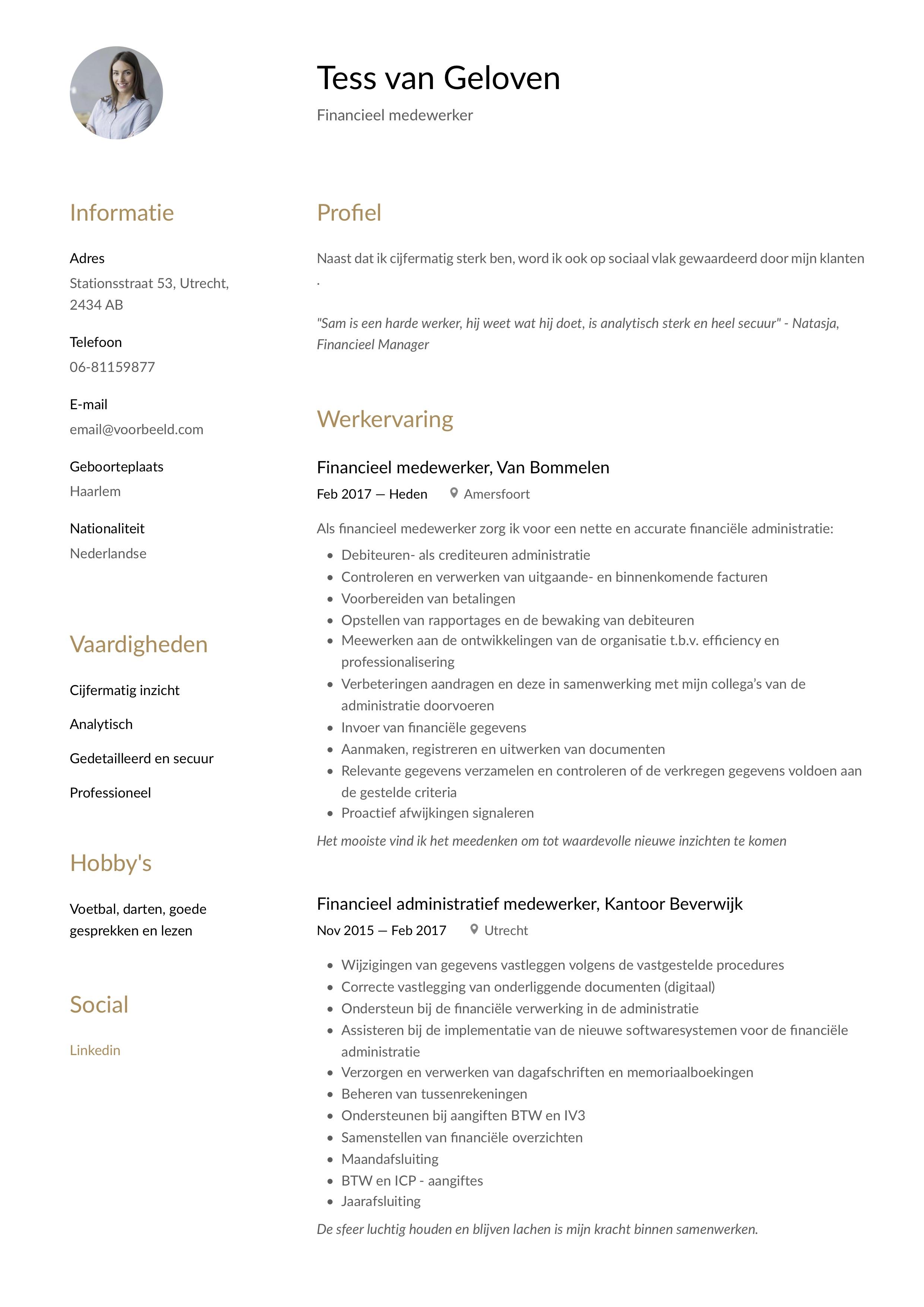 CV Voorbeeld Financieel medewerker
