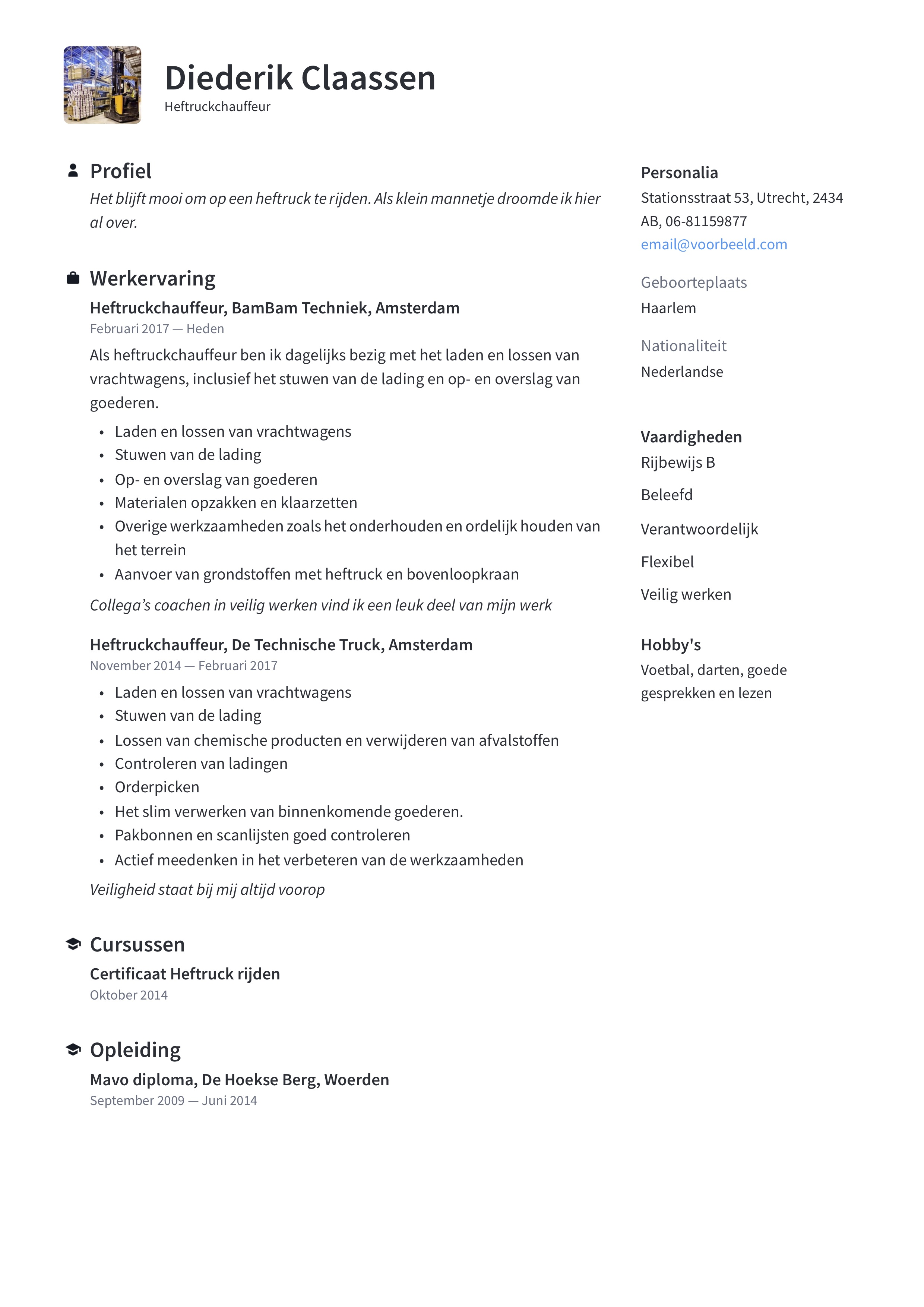 Heftruckchauffeur CV Voorbeeld