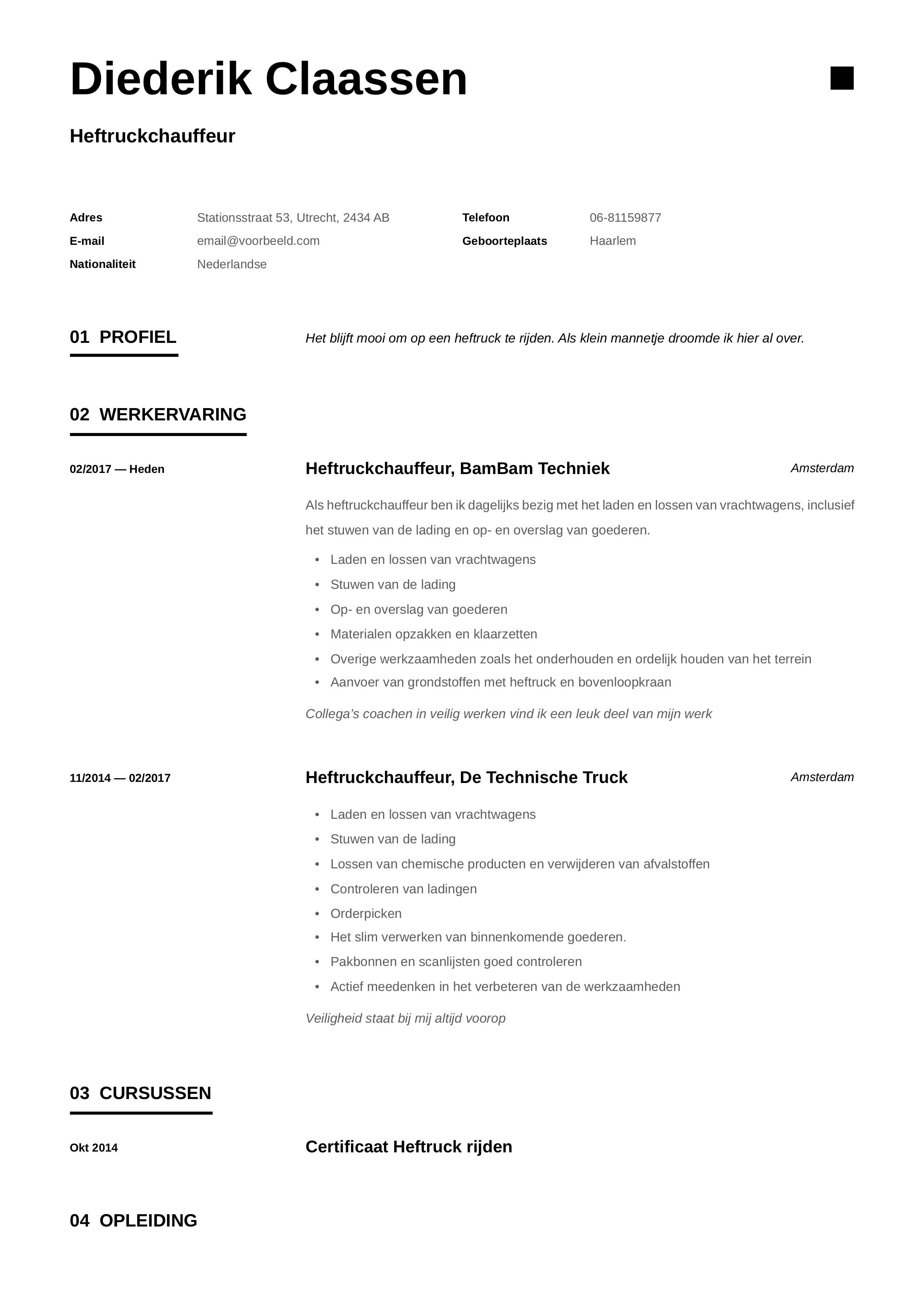 CV Heftruckchauffeur