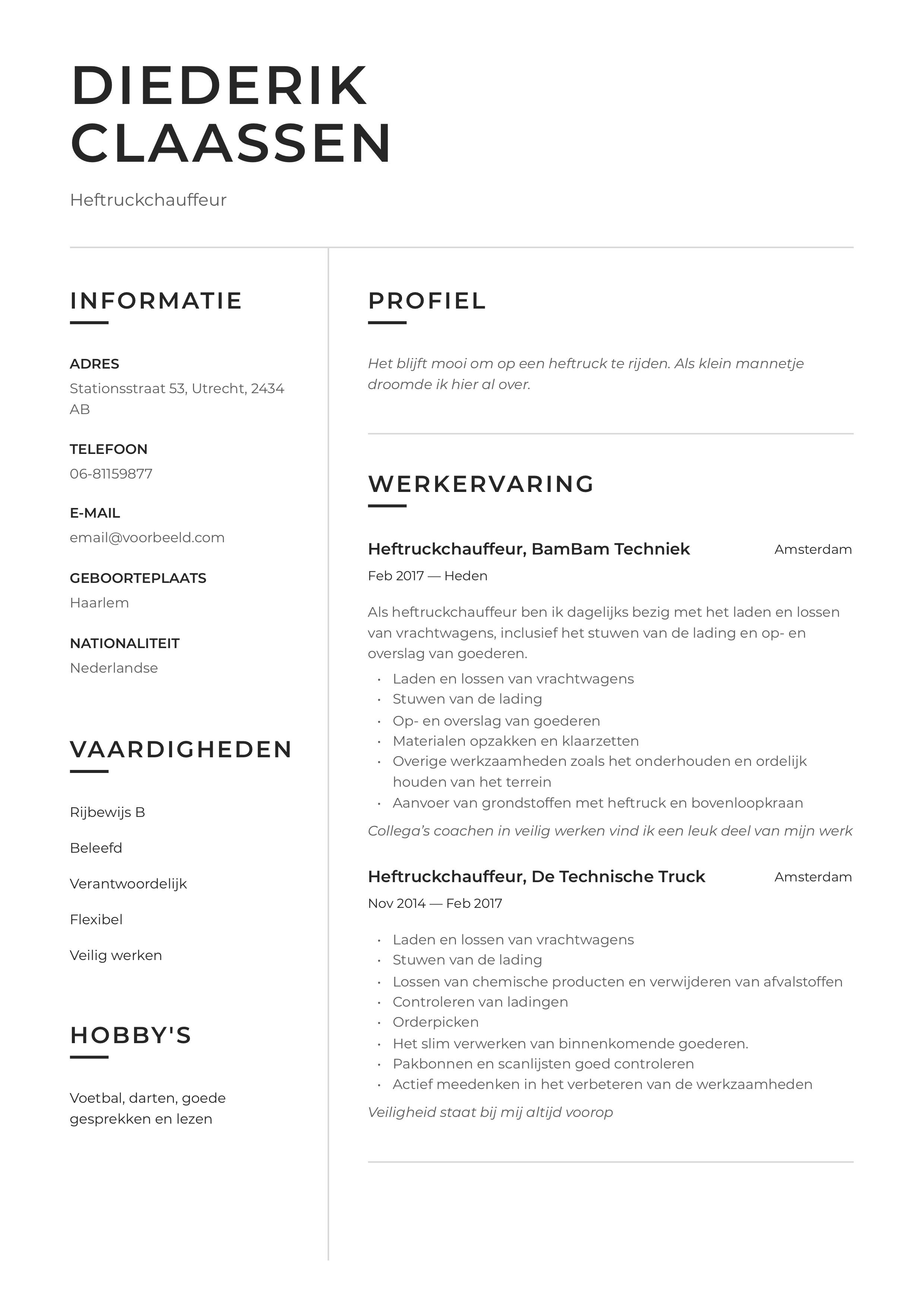 CV Voorbeeld Heftruckchauffeur