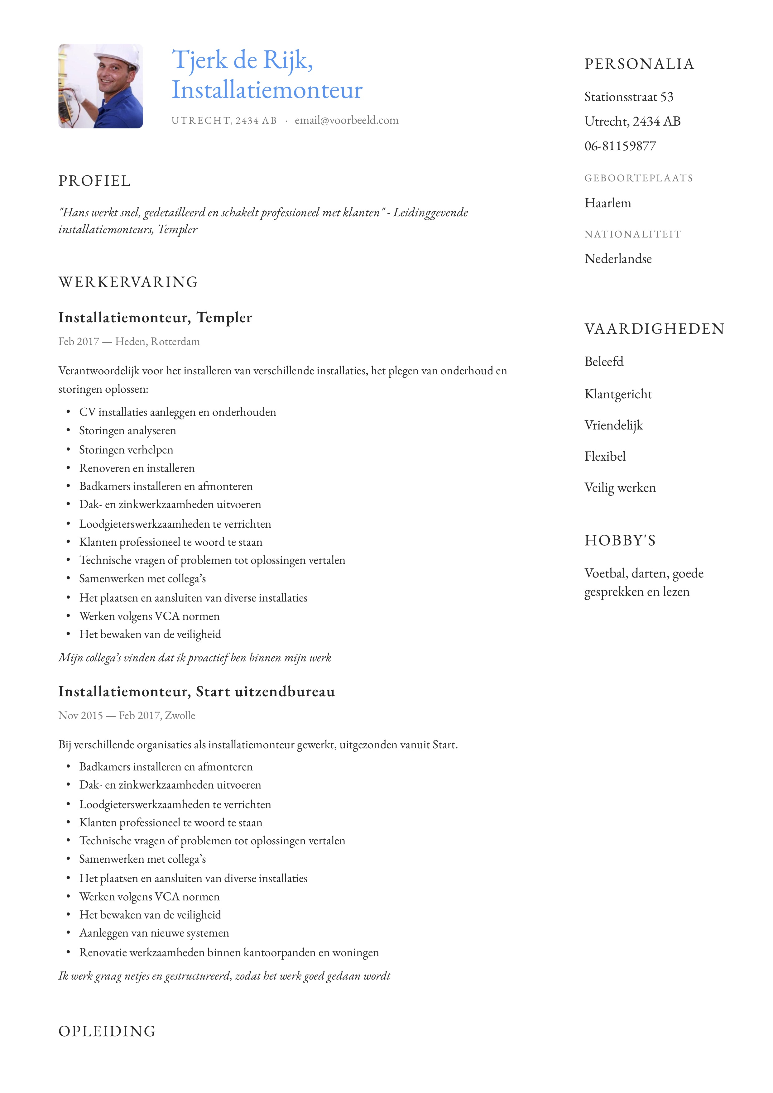 CV Voorbeeld Installatiemonteur