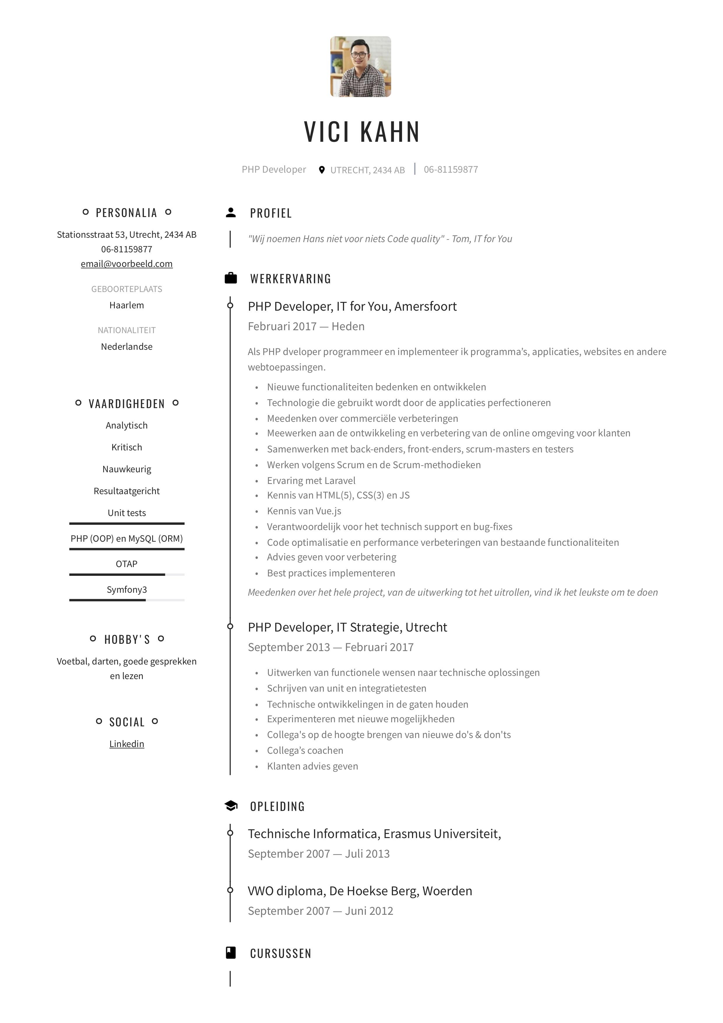 CV PHP developer