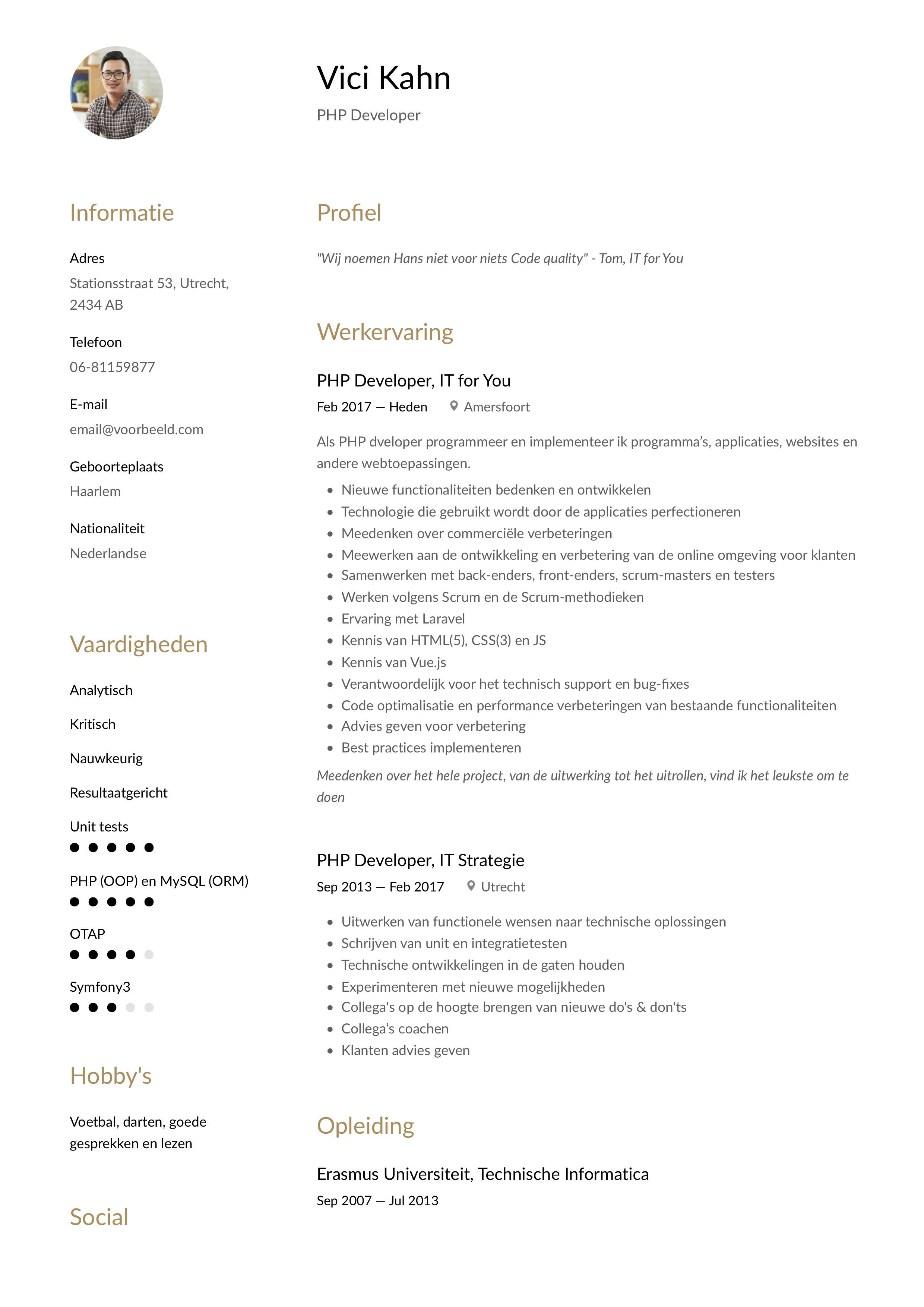 CV Voorbeeld PHP developer