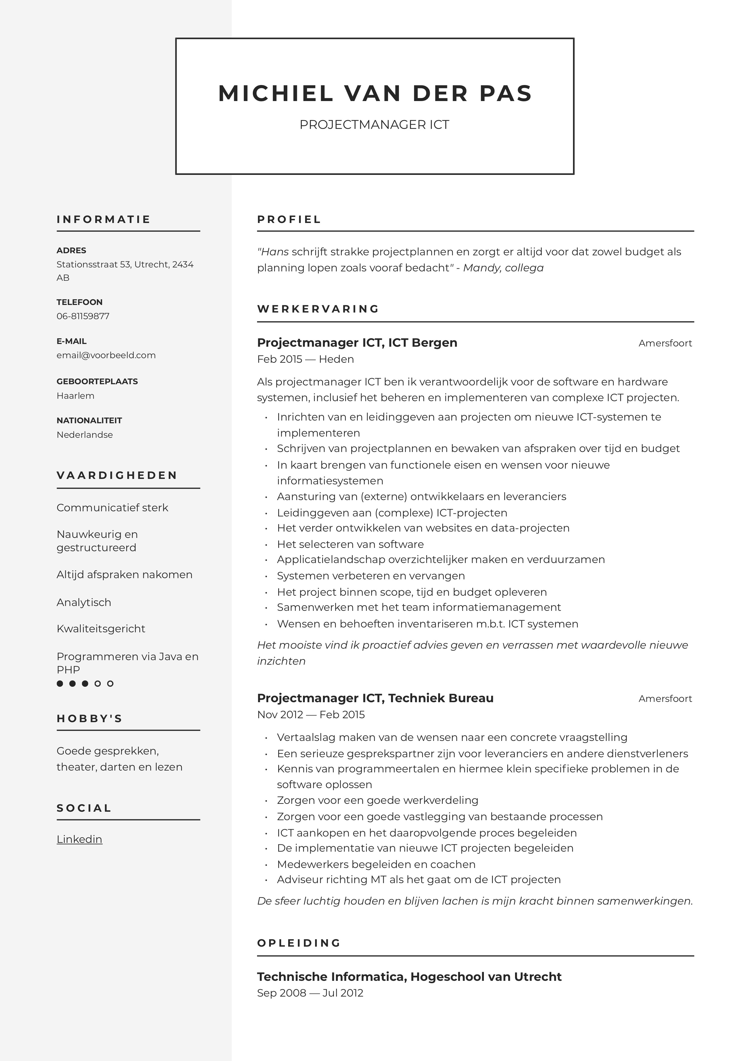 CV Projectmanager ICT