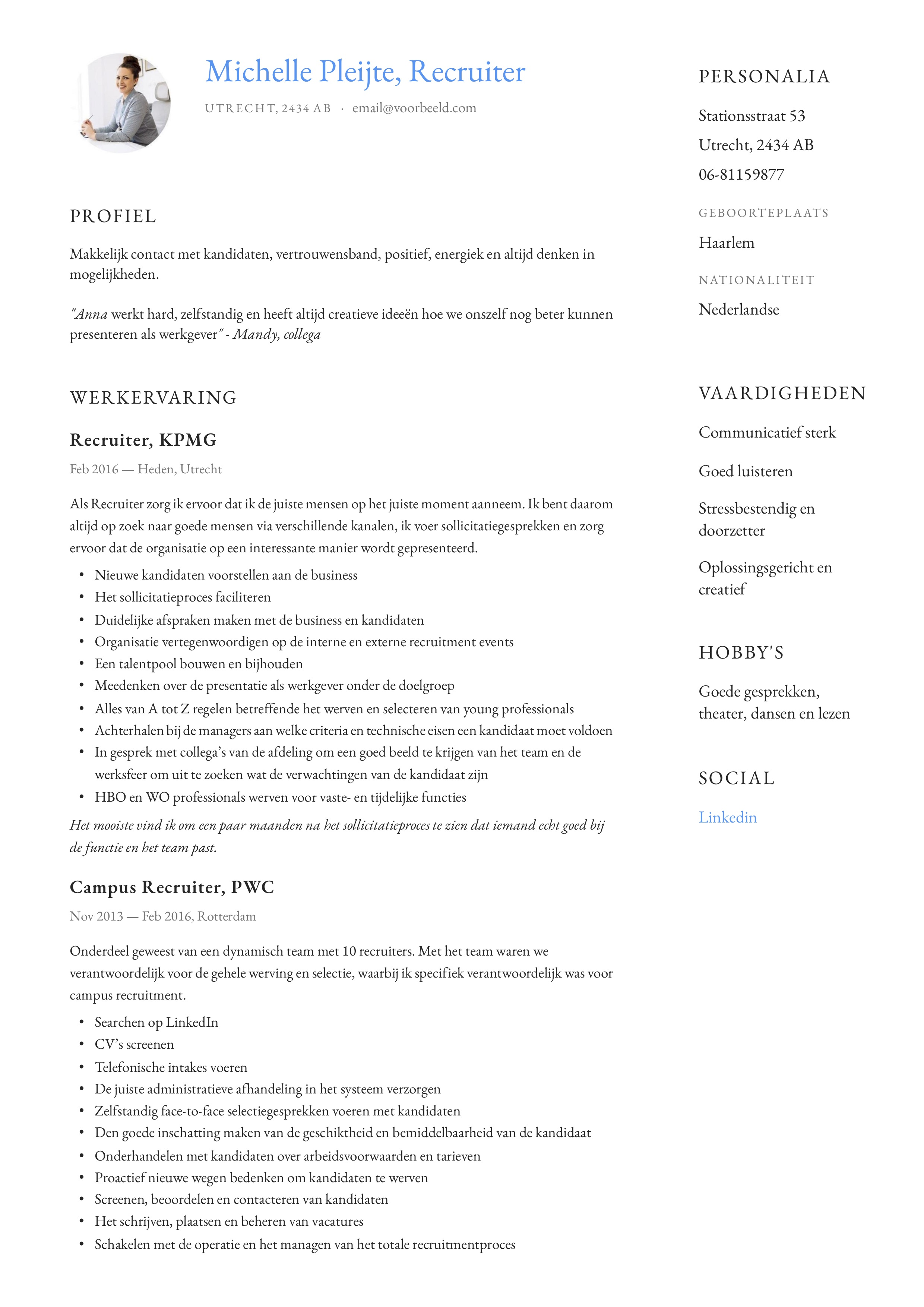 CV Voorbeeld Recruiter