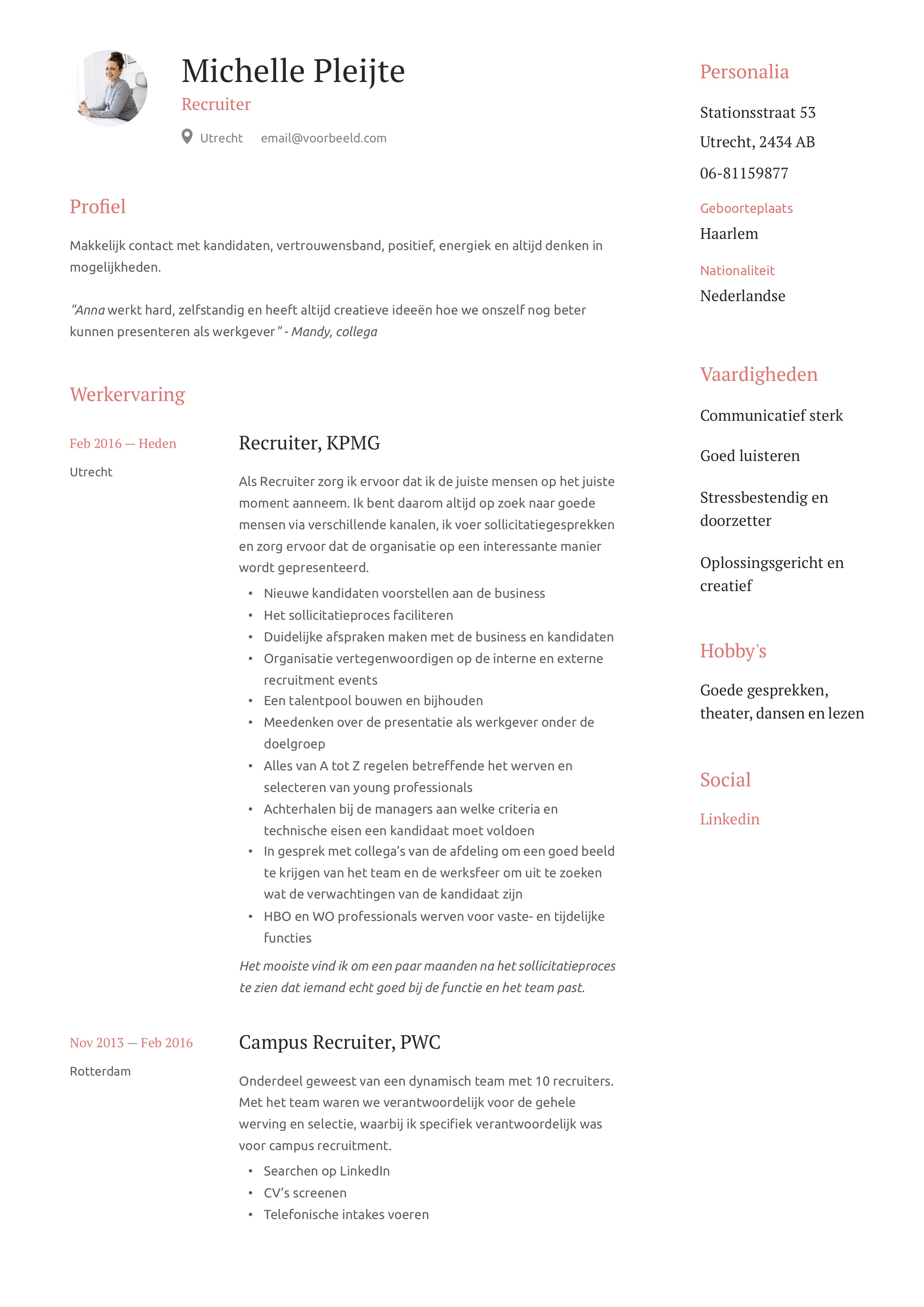 Recruiter CV Voorbeeld