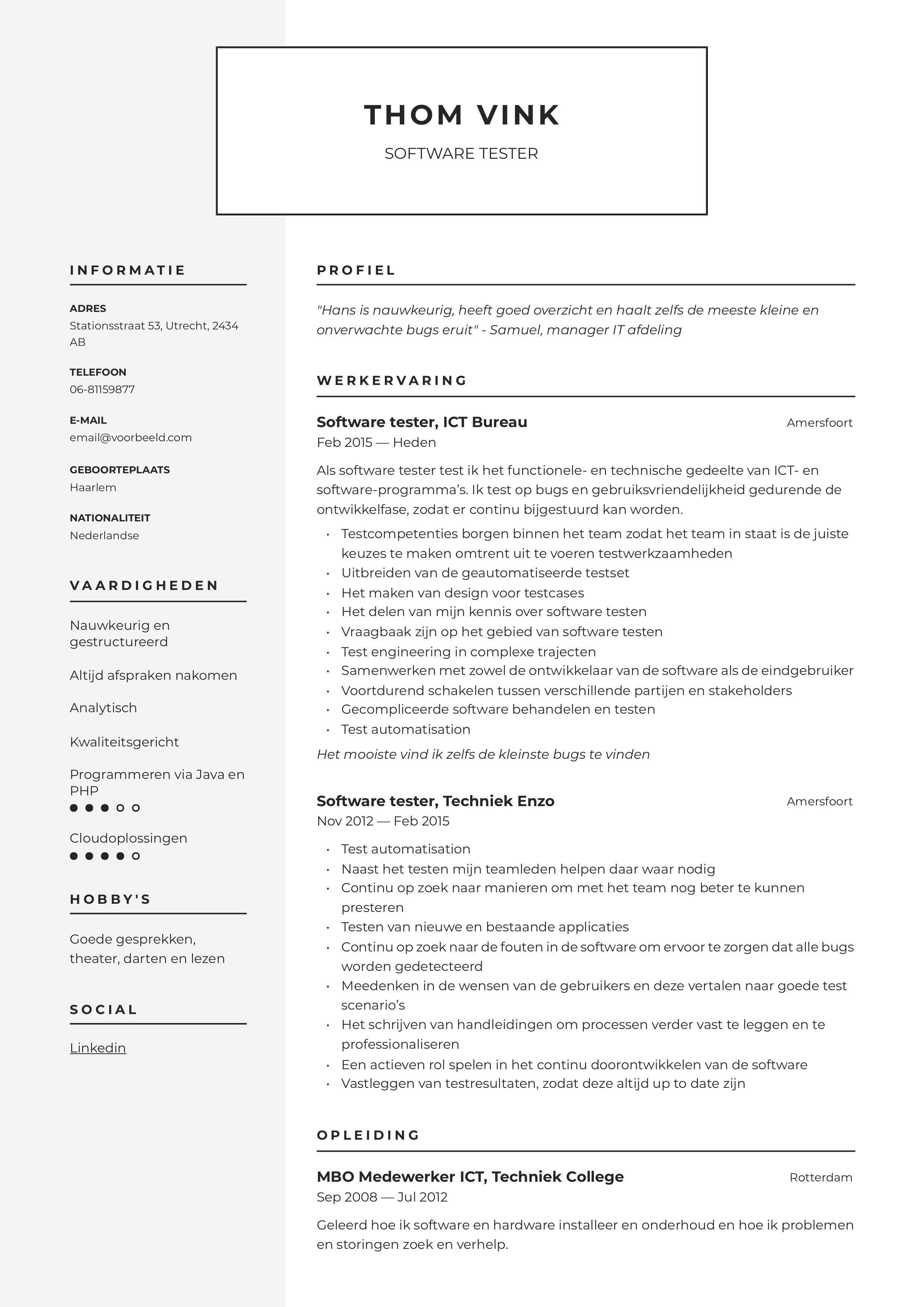 CV Software tester