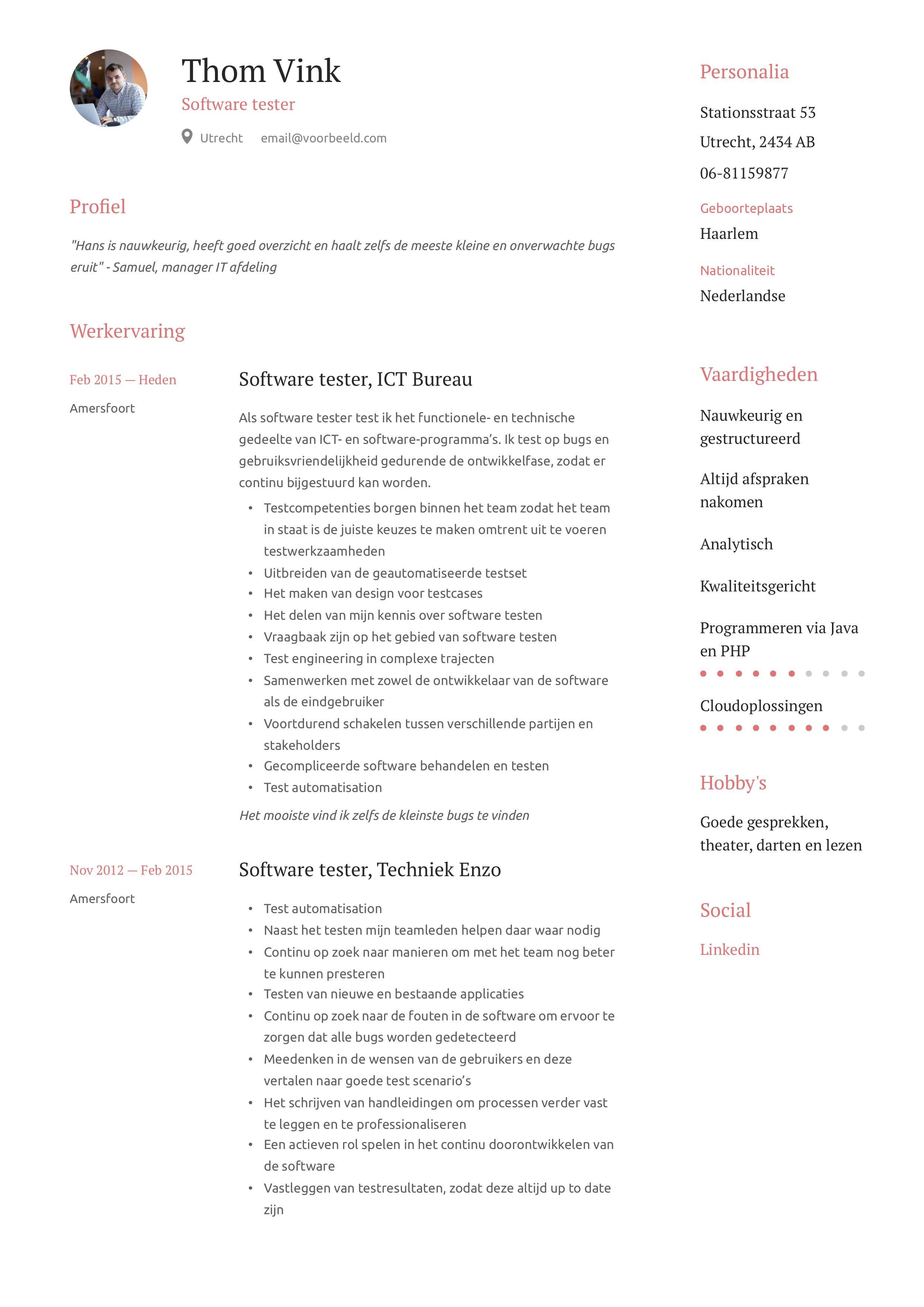 Software tester CV Voorbeeld
