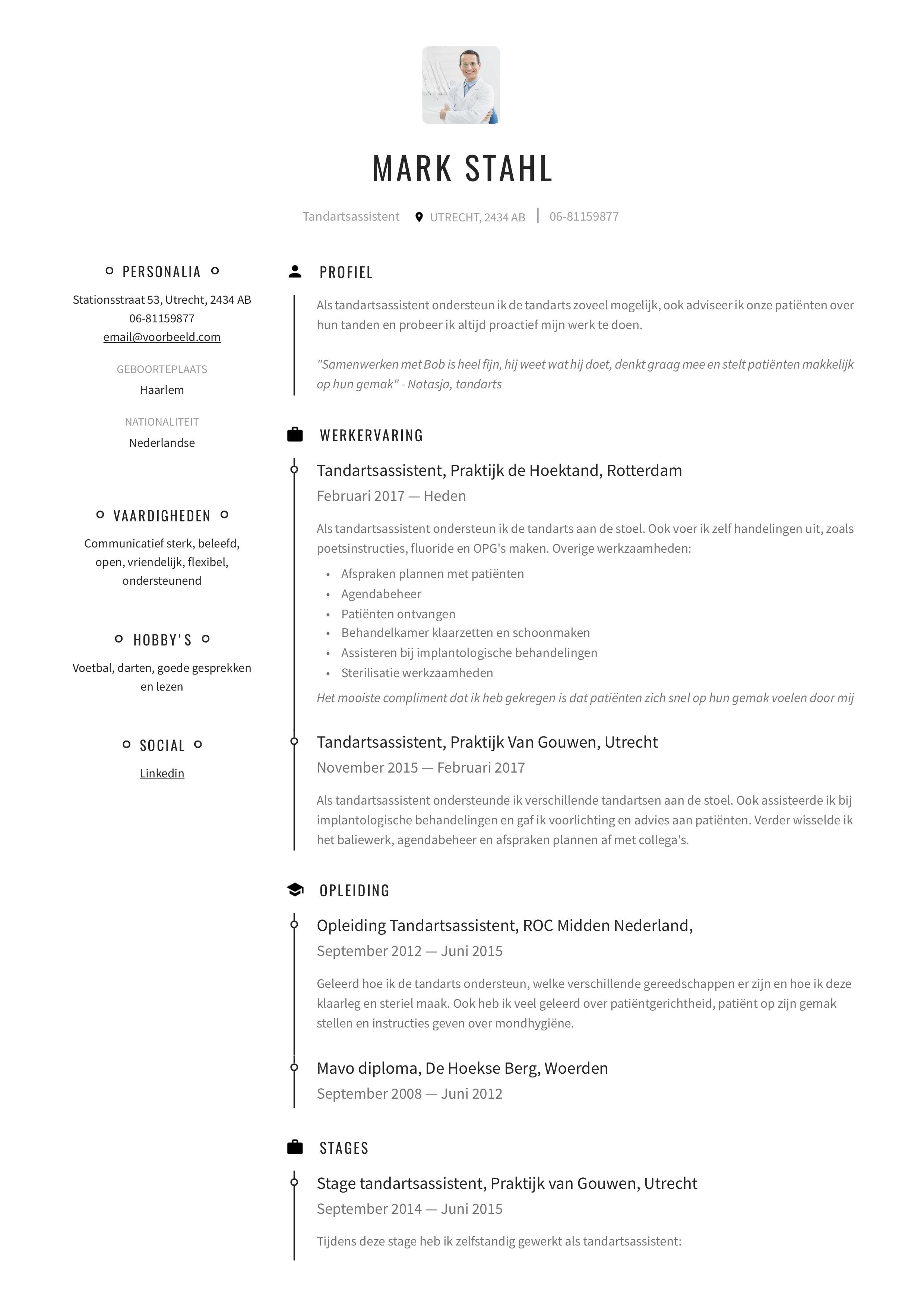 CV Tandarts