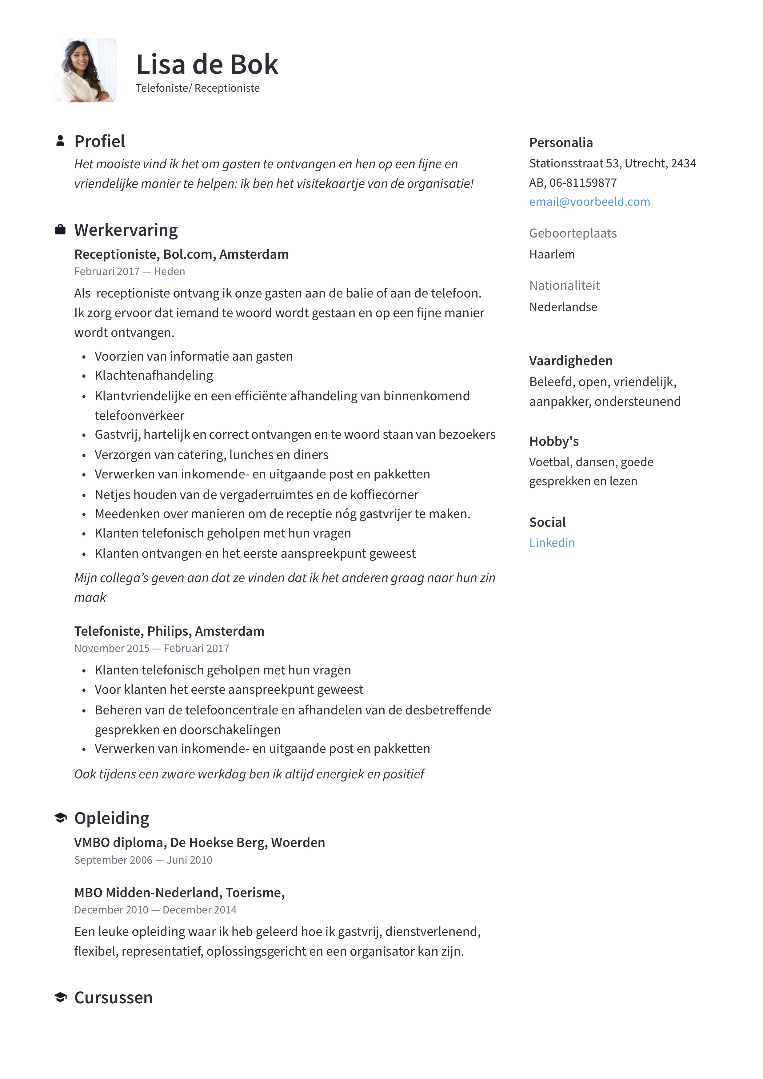 Telefoniste/Receptioniste CV Voorbeeld