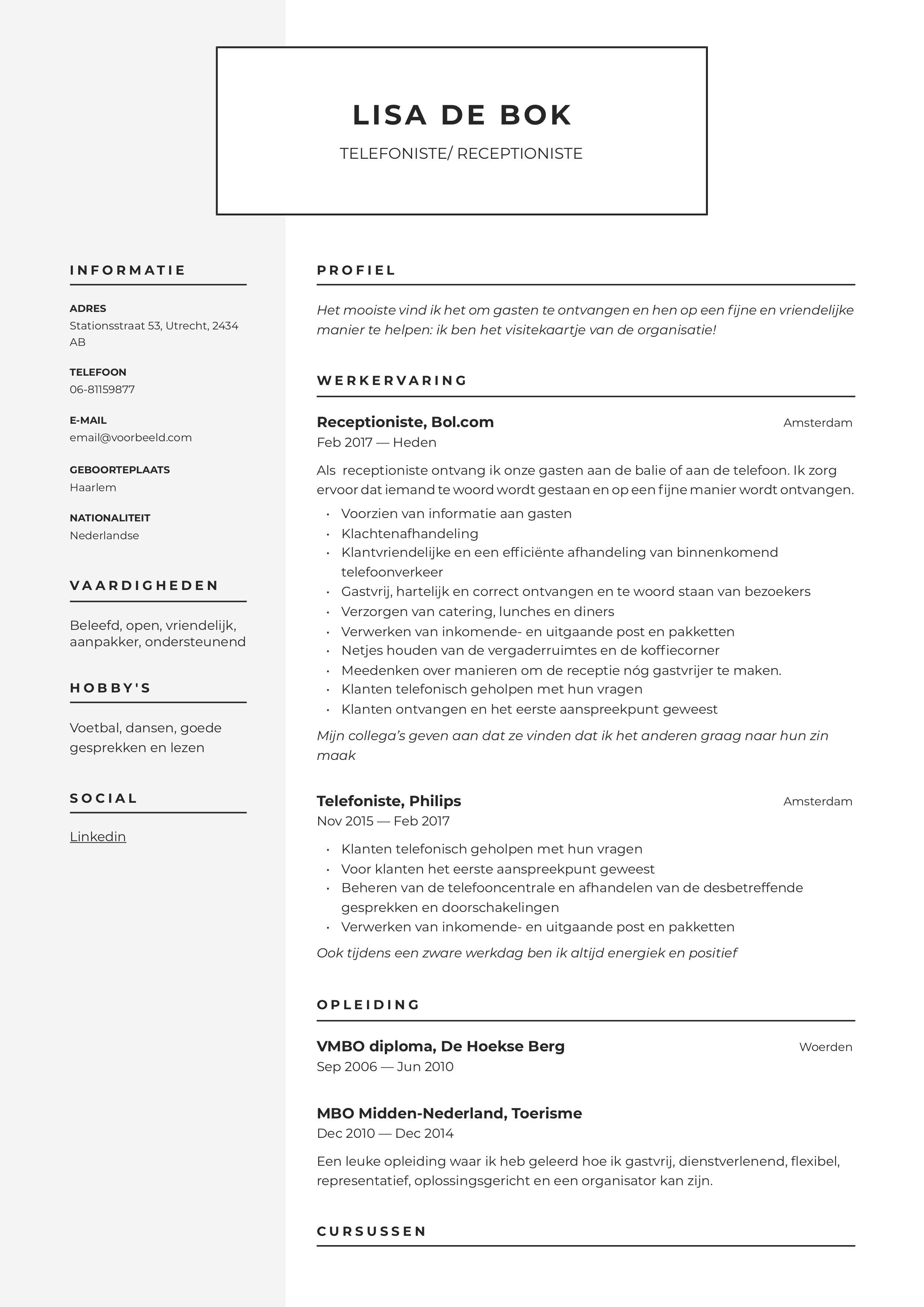 CV Telefoniste/Receptioniste