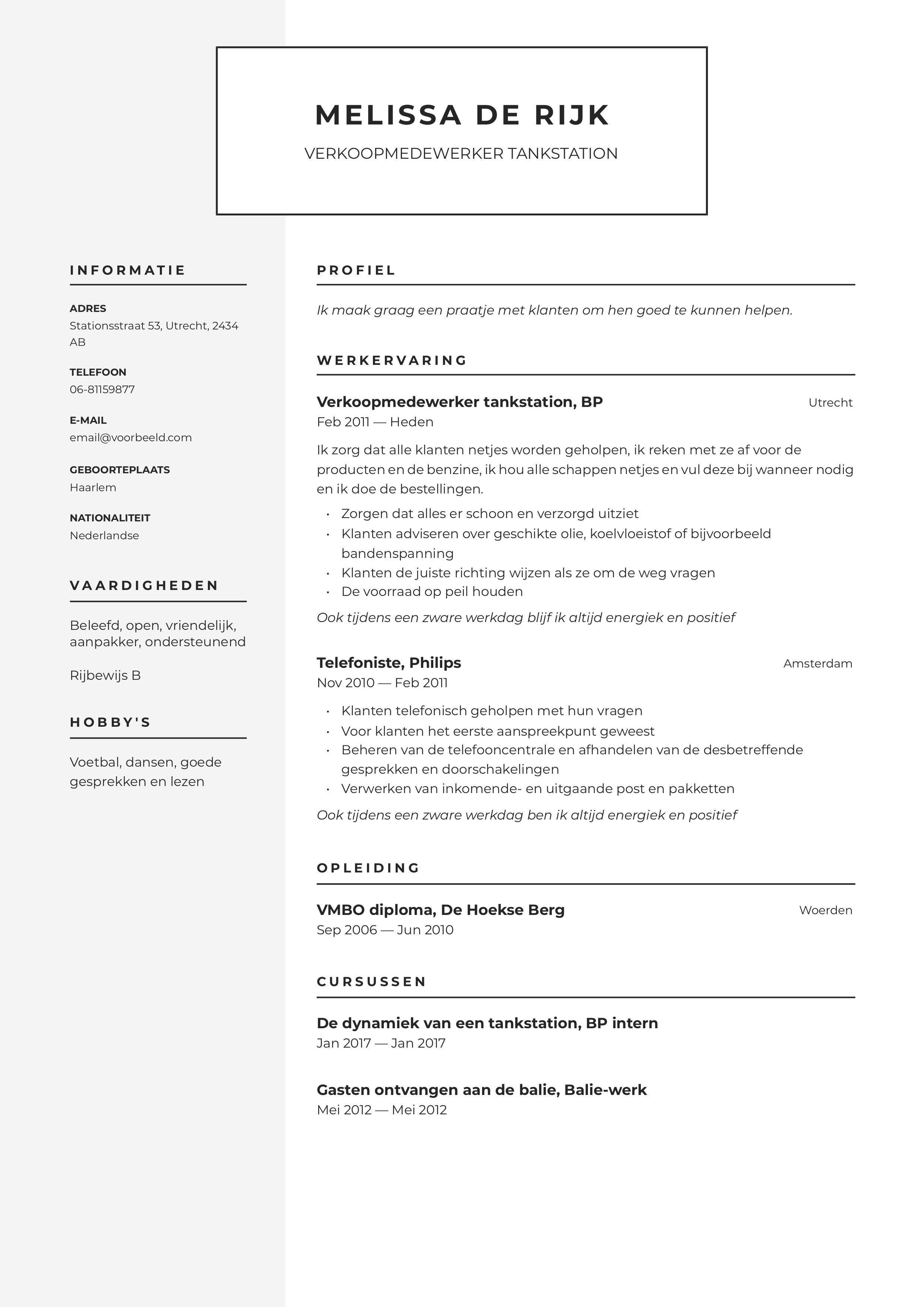 CV Verkoopmedewerker Tankstation