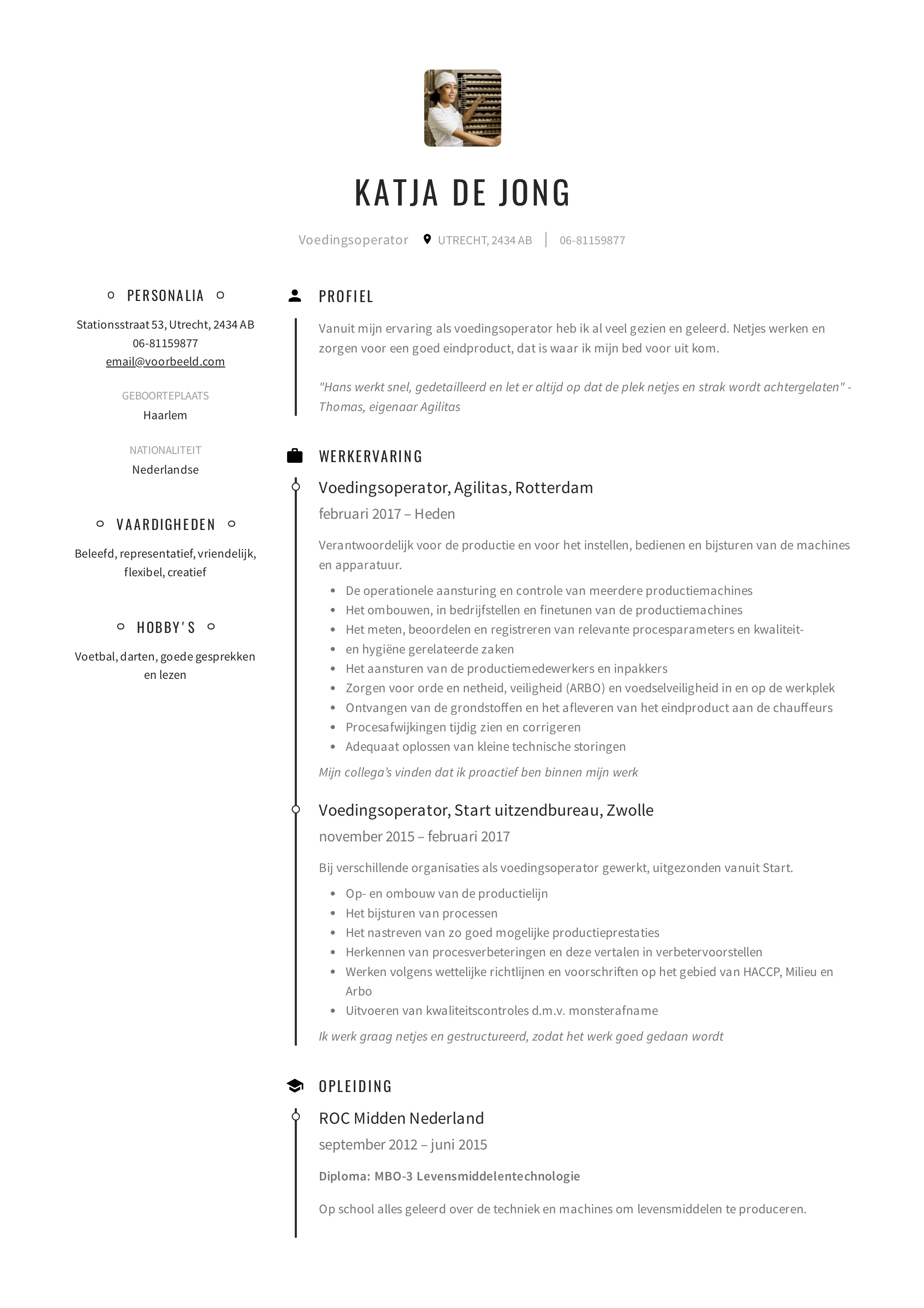 CV Voedingsoperator