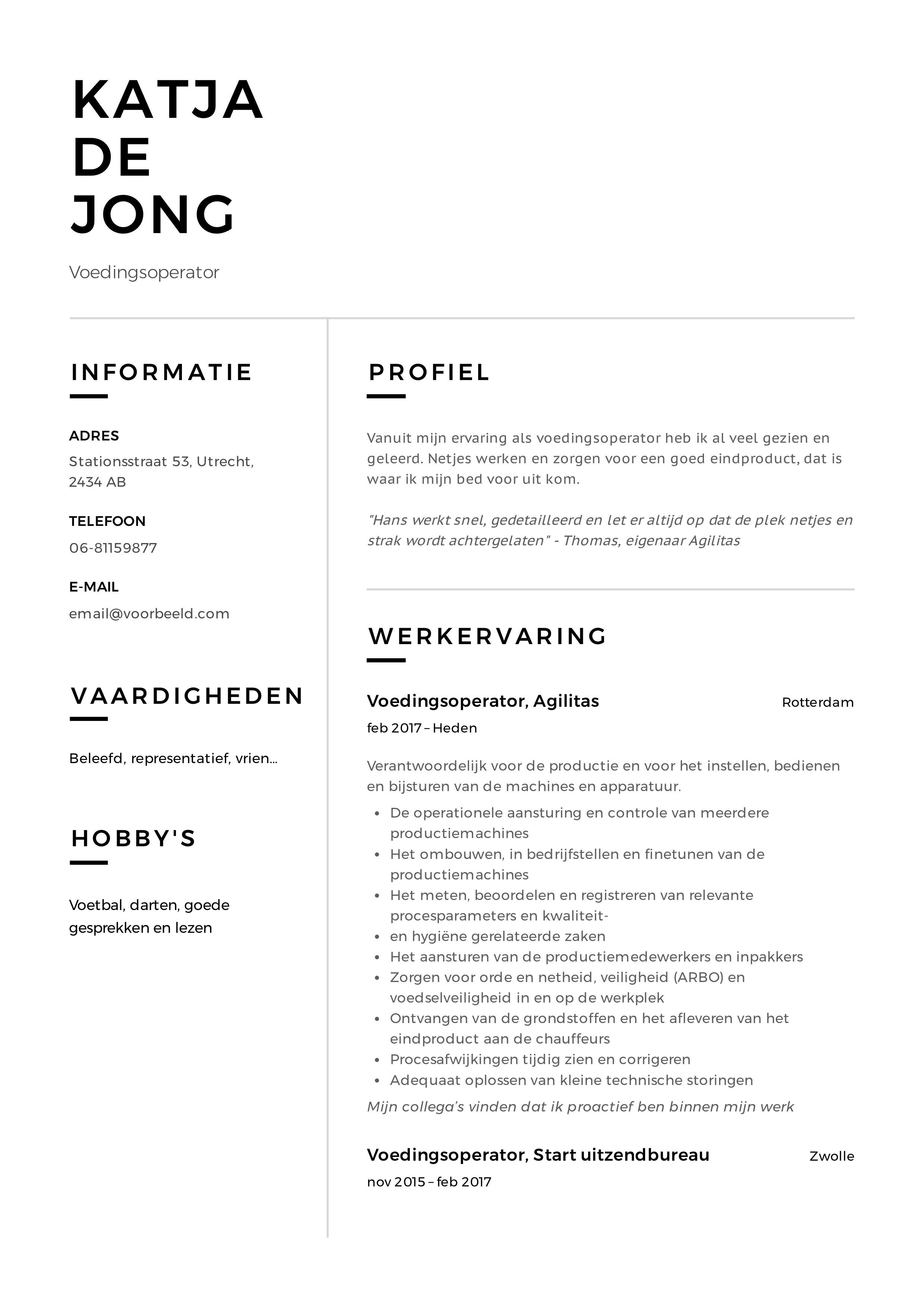 CV Voorbeeld Voedingsoperator