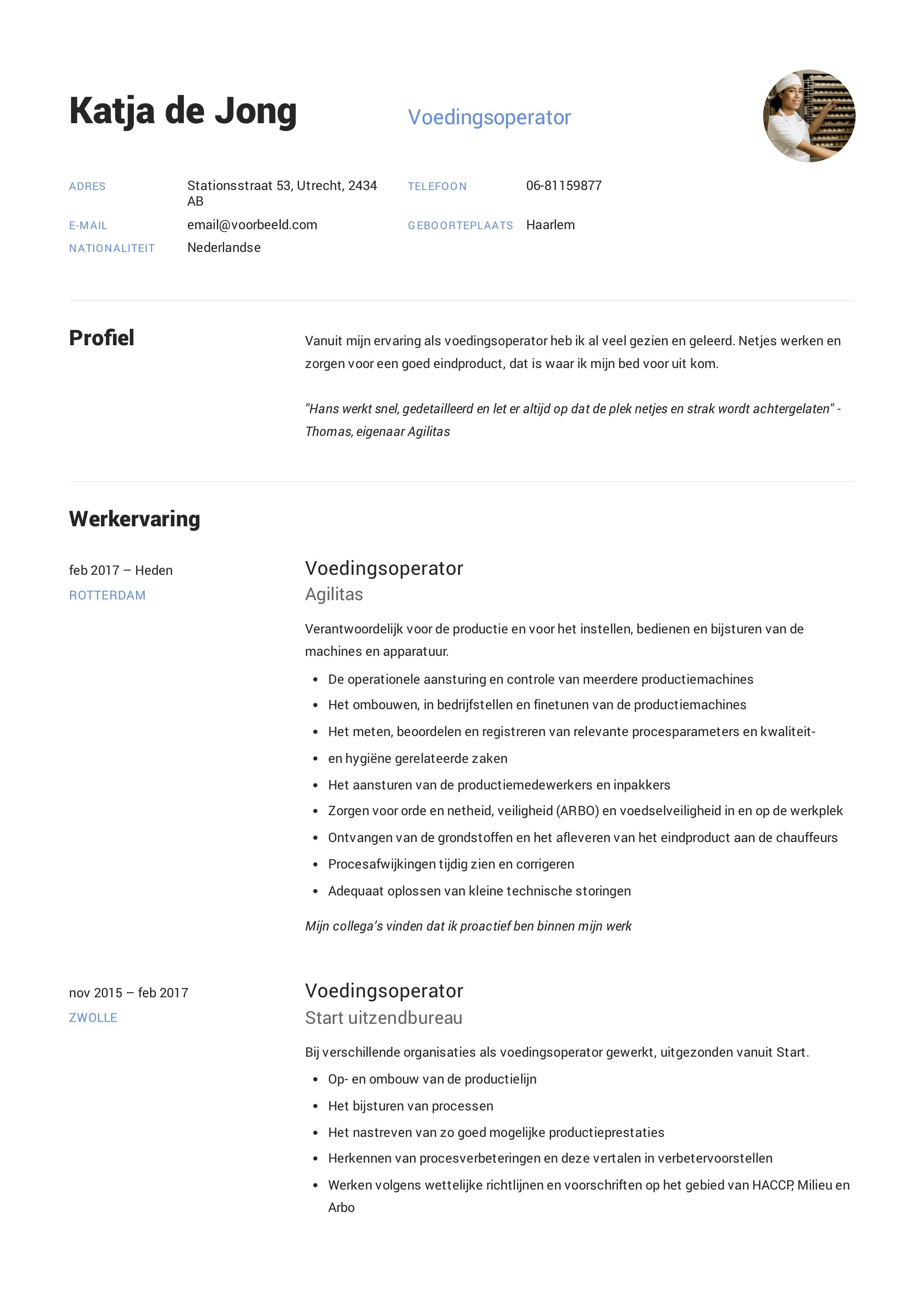 Voedingsoperator CV Voorbeeld