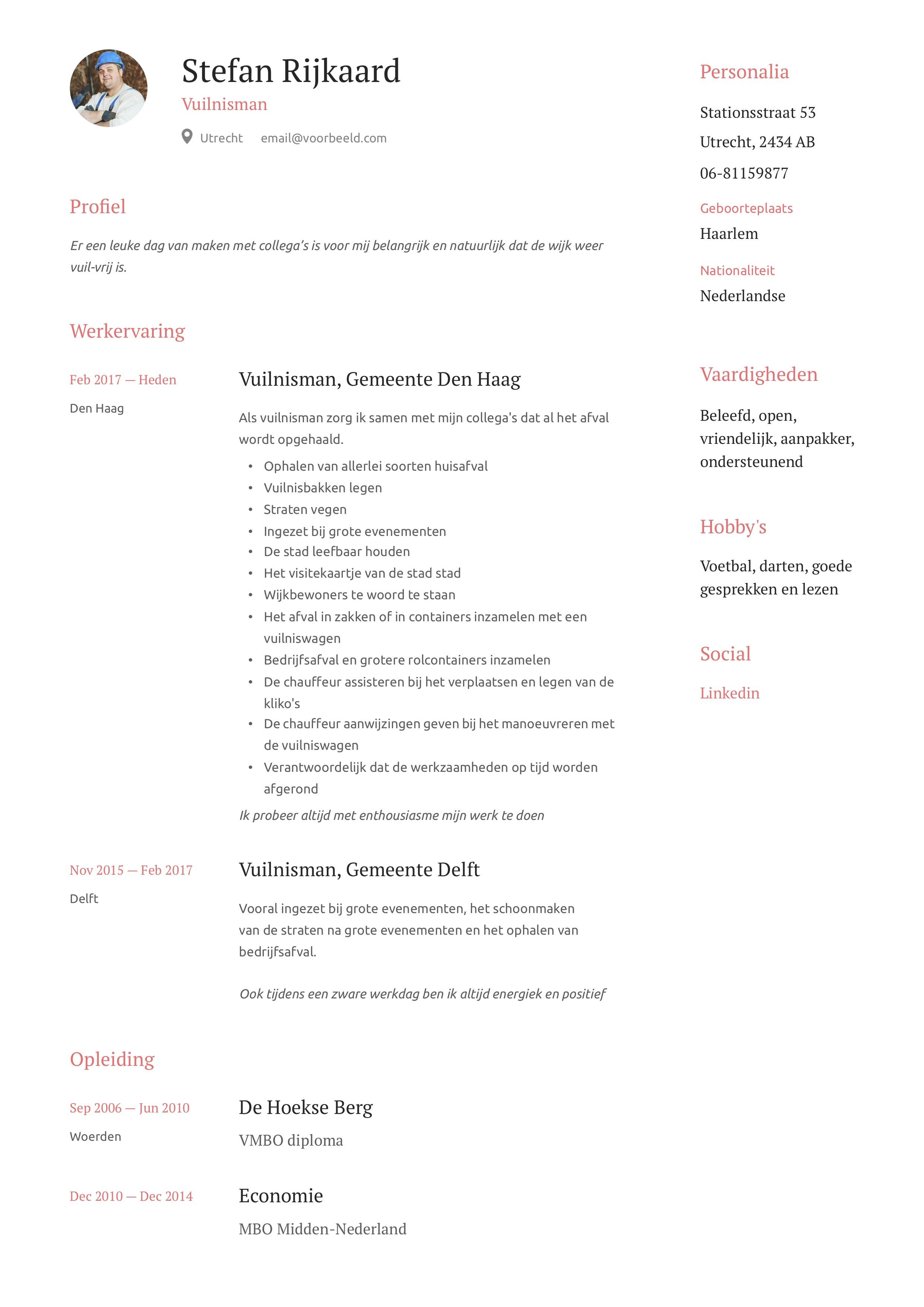 Vuilnisman huisvuilbelader CV Voorbeeld