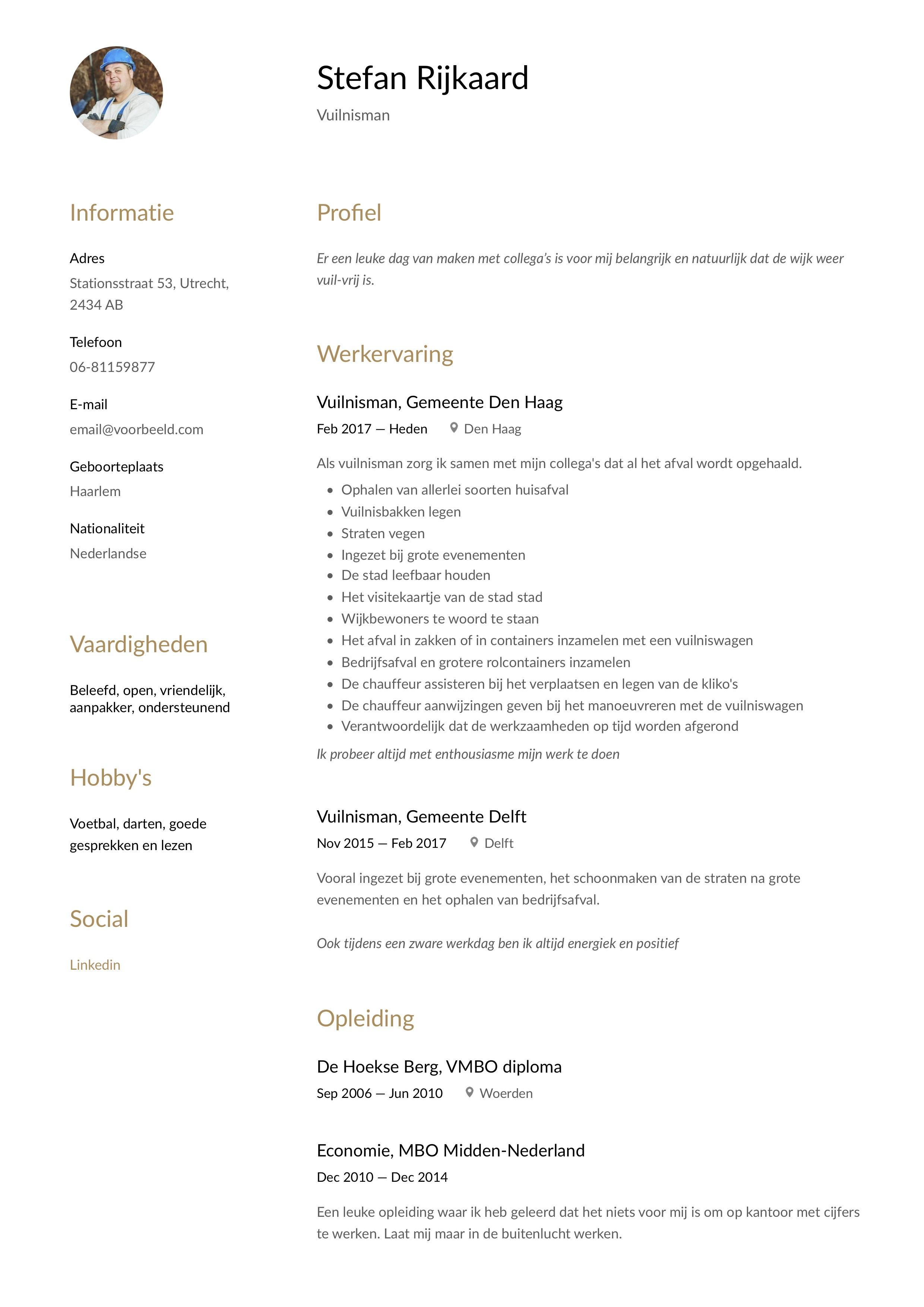 CV Voorbeeld Vuilnisman huisvuilbelader