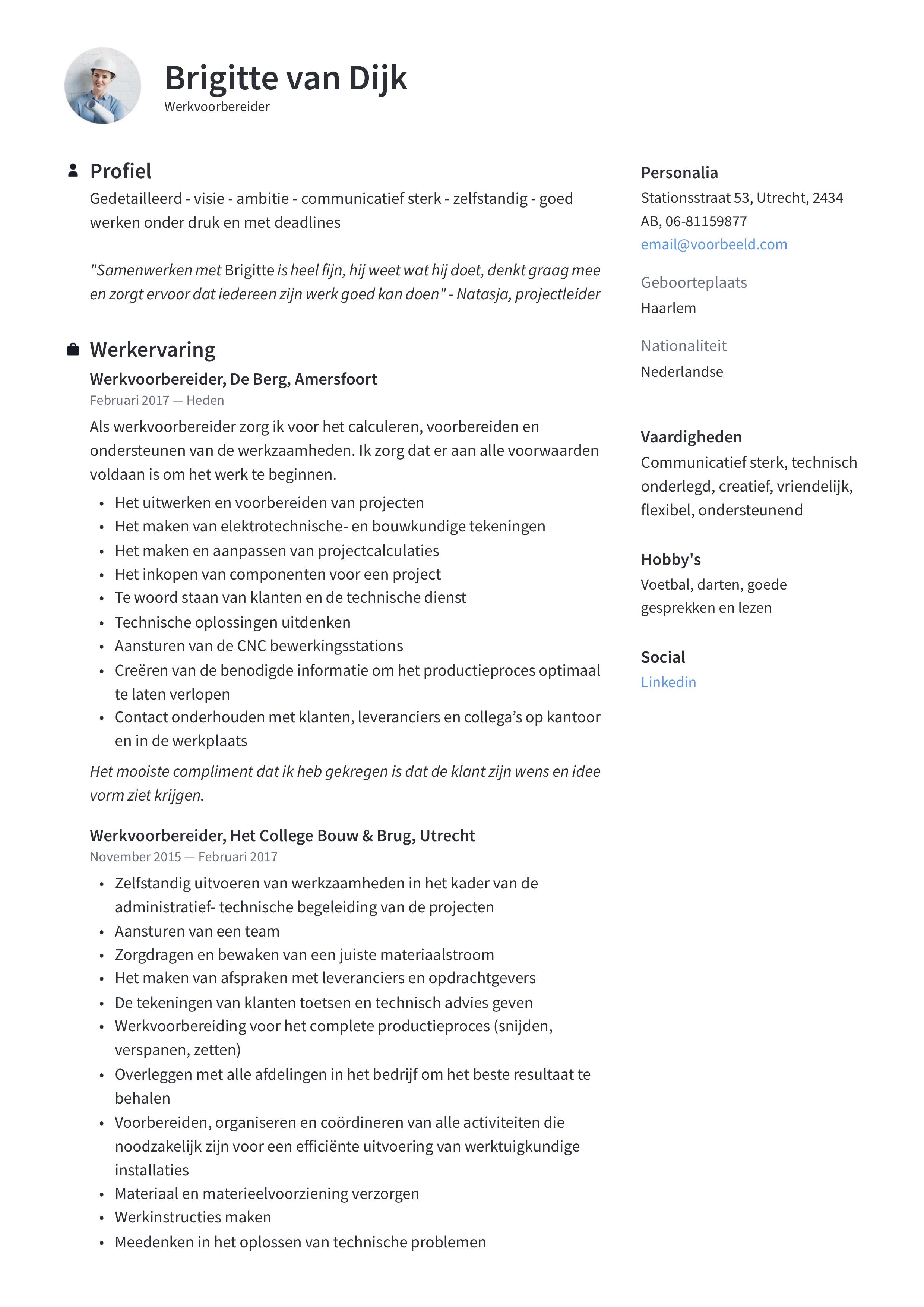 Werkvoorbereider CV Voorbeeld