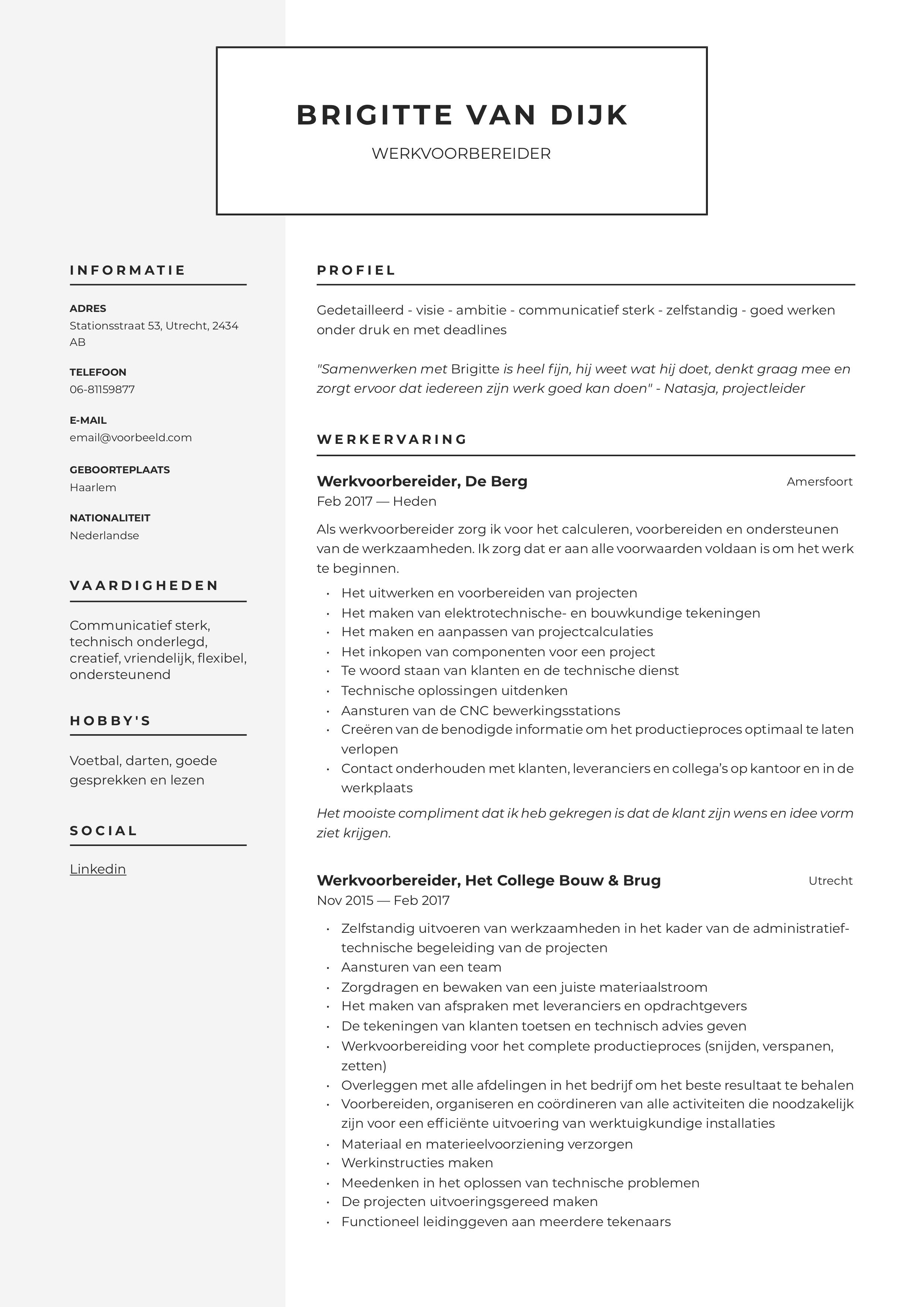 CV Werkvoorbereider