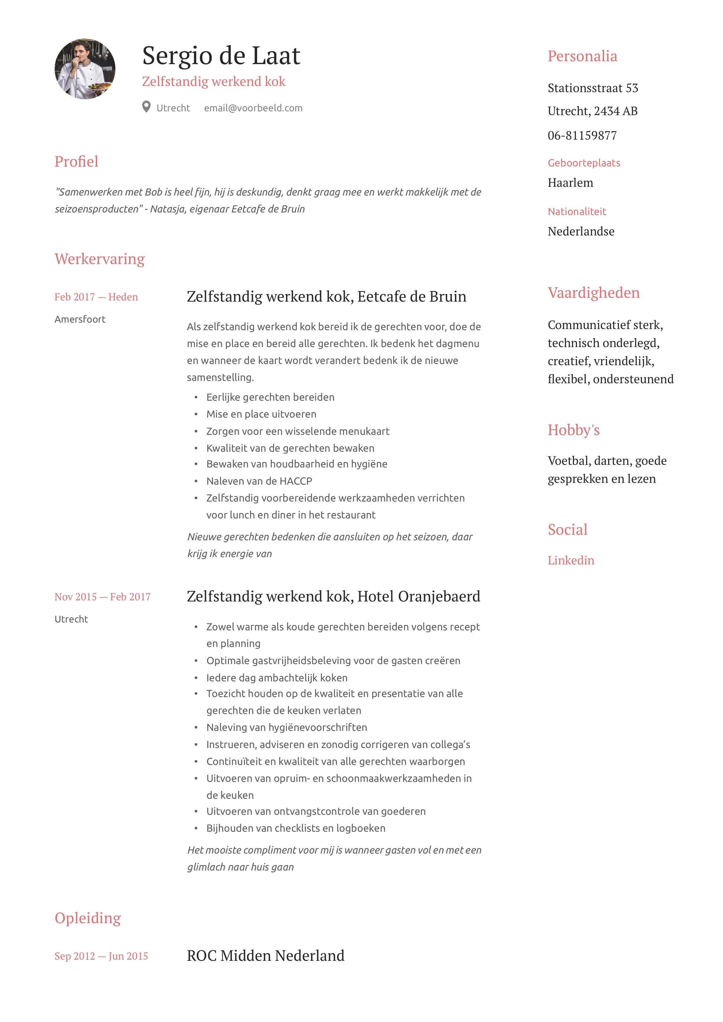 Zelfstandig werkend kok CV Voorbeeld