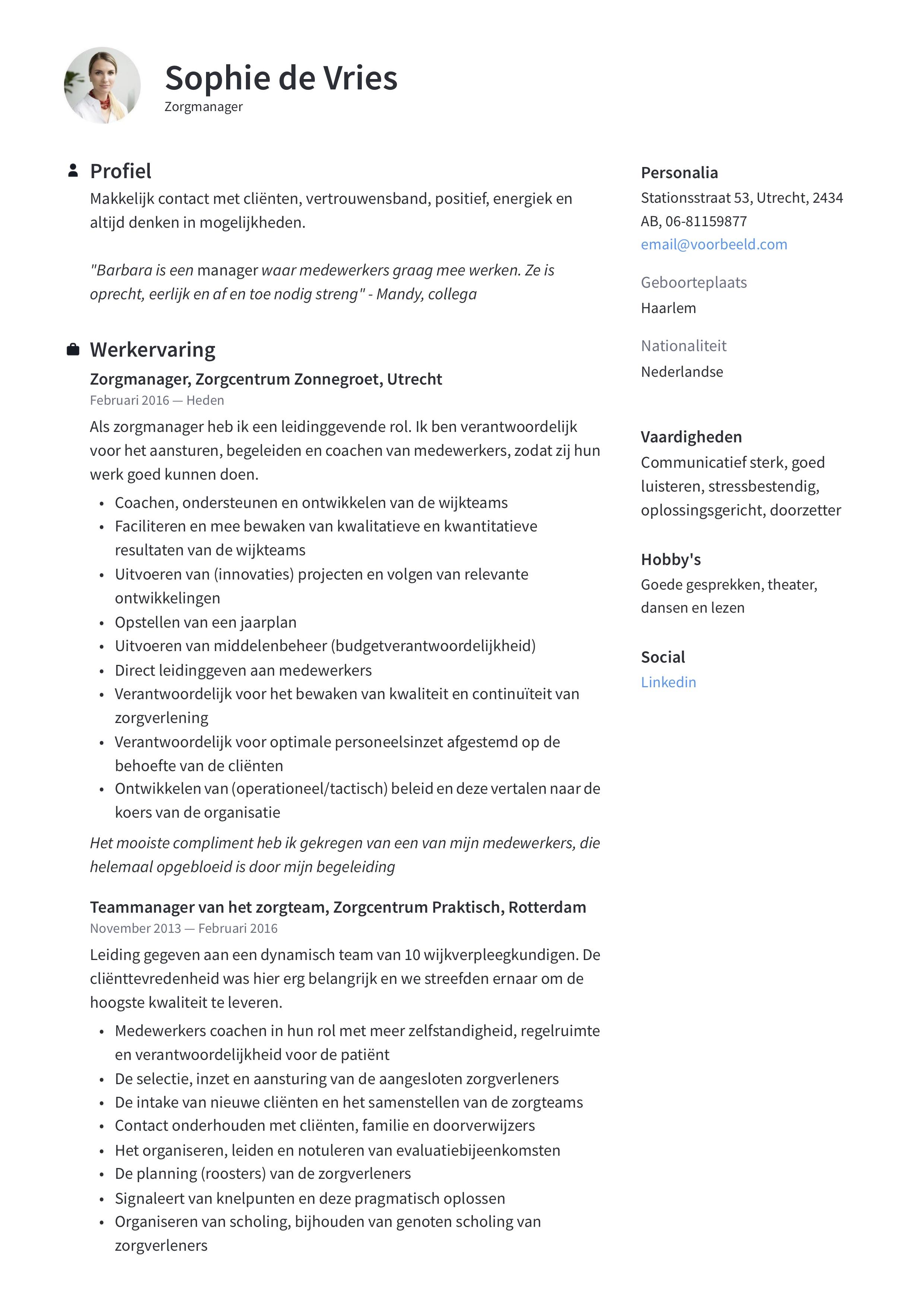 Zorgmanager/ Zorgteamleider CV Voorbeeld