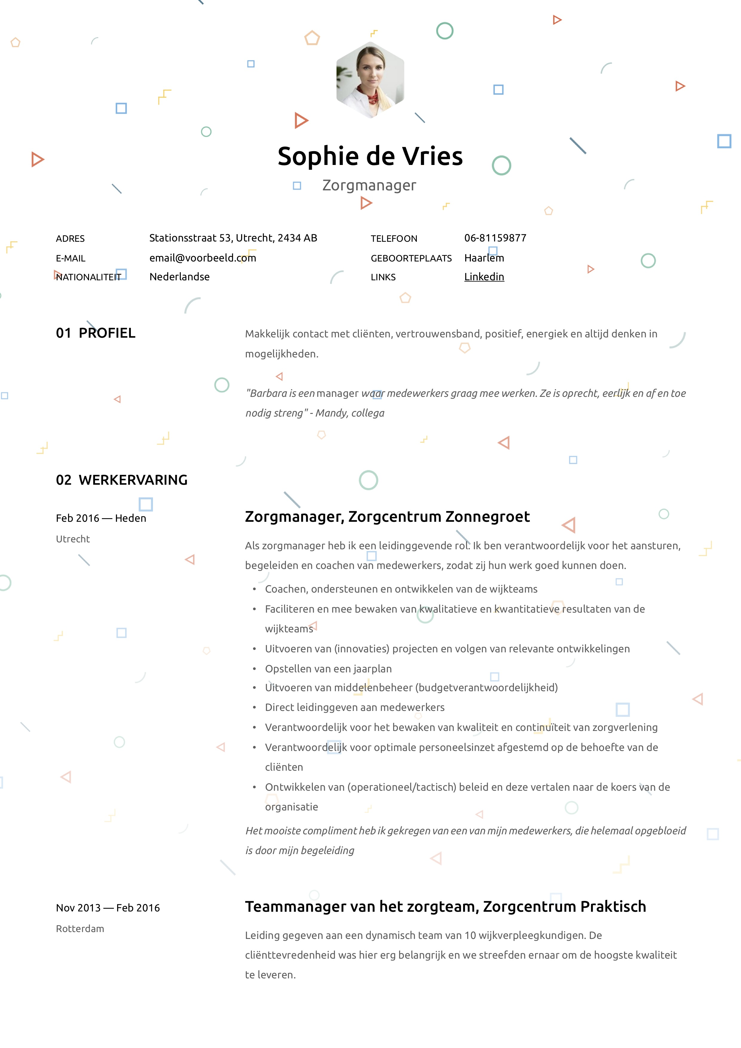 CV Zorgmanager/ Zorgteamleider