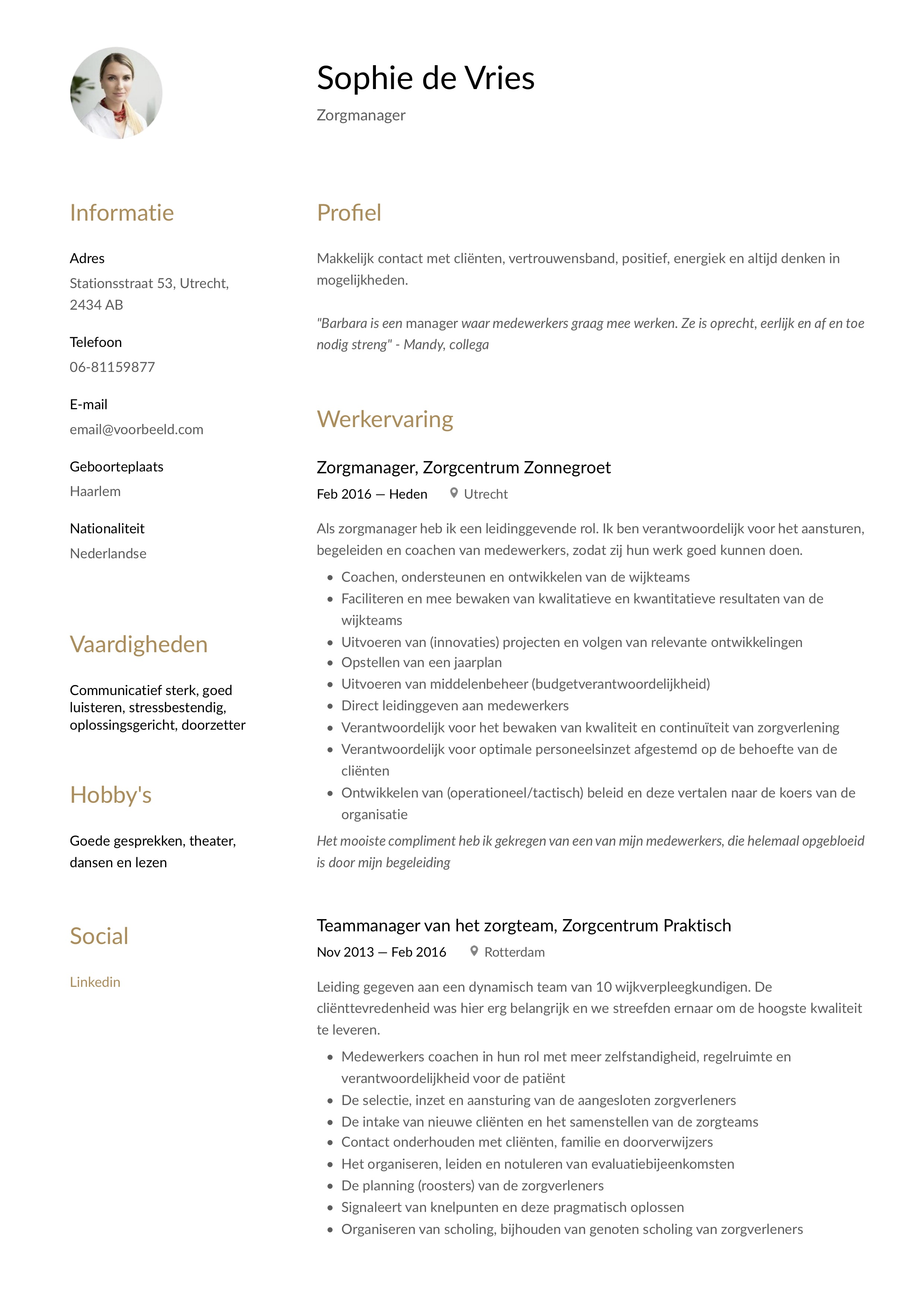 CV Voorbeeld Zorgmanager/ Zorgteamleider