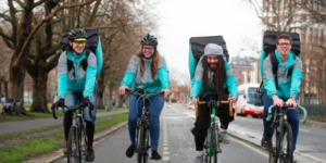deliveroo riders riding together