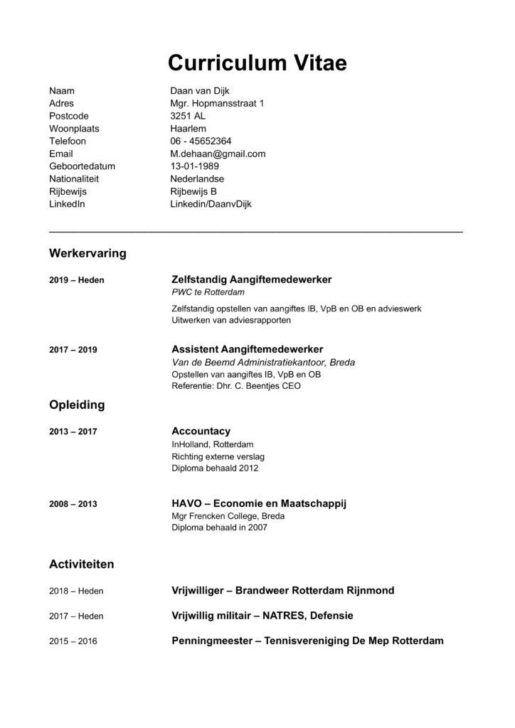 CV Voorbeeld 2020 chronologisch