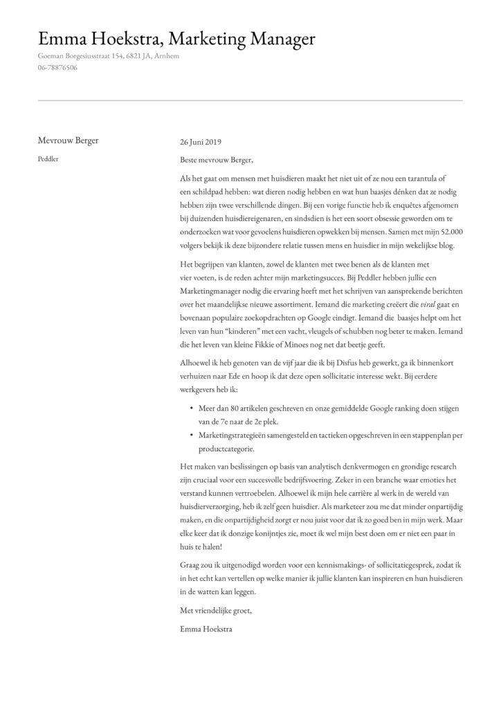 Marketing Manager Motivatiebrief